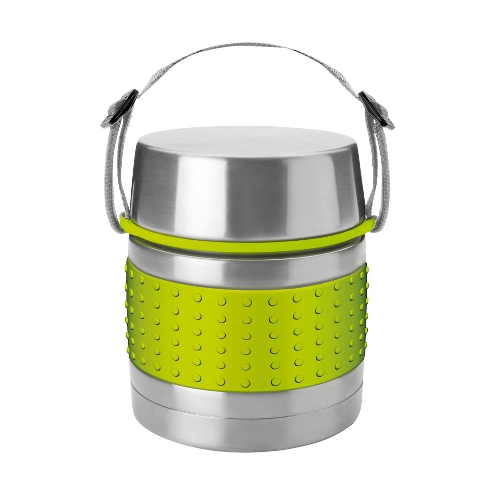 Термос с широким горлом для первых и вторых блюд, 1,0 л. IBILI Termos арт. 741410Термосы<br>материал колбы:нержавеющая стальматериал корпуса:нержавеющая стальобъем (мл):1000предметов в наборе (штук):1страна:Испанияудержание тепла (час):12цвет:зеленый<br><br>Куда бы вы ни отправлялись: на работу, в путешествие или за город — изделия этой серии надолго сохранят температуру пищи и напитков, а также все их вкусовые свойства. Кружка-термос, выполненная из цветного сверхпрочного пластика, пригодится вам в офисе, поддерживая оптимальную температуру чая или кофе в течение нескольких часов, а плотно прилегающая крышка не даст напитку пролиться.<br>Компактные стальные термосы различного объема для горячих блюд и напитков позволят их владельцу в любое удобное время отменно пообедать домашней пищей. При этом крышка термоса отлично послужит тарелкой или стаканом, а блюда и напитки будут такими же свежими и горячими, будто их только что приготовили.<br>