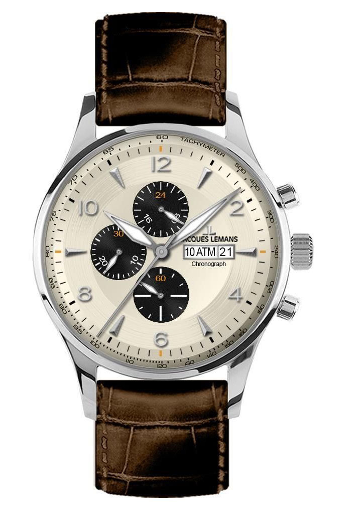 Jacques Lemans 1-1844C - мужские наручные часы из коллекции ClassicJacques Lemans<br><br><br>Бренд: Jacques Lemans<br>Модель: Jacques Lemans 1-1844C<br>Артикул: 1-1844C<br>Вариант артикула: None<br>Коллекция: Classic<br>Подколлекция: None<br>Страна: Австрия<br>Пол: мужские<br>Тип механизма: кварцевые<br>Механизм: None<br>Количество камней: None<br>Автоподзавод: None<br>Источник энергии: от батарейки<br>Срок службы элемента питания: None<br>Дисплей: стрелки<br>Цифры: арабские<br>Водозащита: WR 10<br>Противоударные: None<br>Материал корпуса: нерж. сталь<br>Материал браслета: кожа<br>Материал безеля: None<br>Стекло: Crystex<br>Антибликовое покрытие: None<br>Цвет корпуса: None<br>Цвет браслета: None<br>Цвет циферблата: None<br>Цвет безеля: None<br>Размеры: 44 мм<br>Диаметр: None<br>Диаметр корпуса: None<br>Толщина: None<br>Ширина ремешка: None<br>Вес: None<br>Спорт-функции: секундомер<br>Подсветка: стрелок<br>Вставка: None<br>Отображение даты: число<br>Хронограф: есть<br>Таймер: None<br>Термометр: None<br>Хронометр: None<br>GPS: None<br>Радиосинхронизация: None<br>Барометр: None<br>Скелетон: None<br>Дополнительная информация: None<br>Дополнительные функции: None