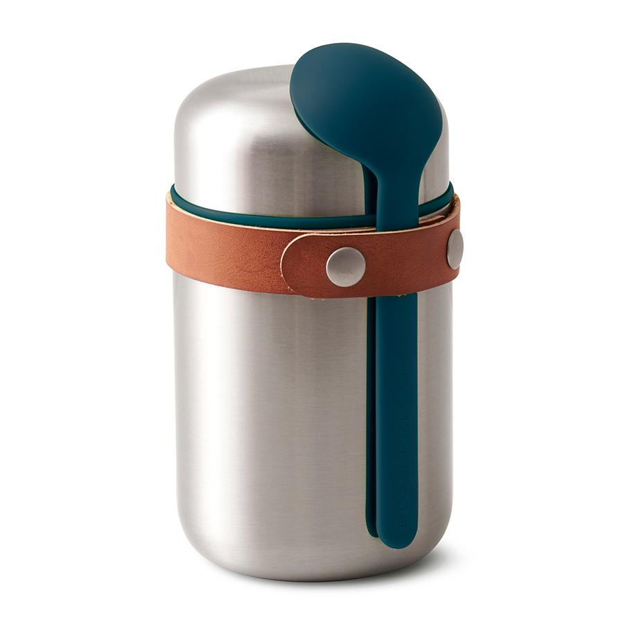 Термос для горячего Black+Blum Food Flask бирюзовый BAM-FF-S005Ланч-боксы<br>Компактный ланч-бокс для горячего поместится в сумку или рюкзак и всегда порадует теплой и вкусной едой. Современный дизайн сочетается с хорошей функциональностью. Вакуумная колба сохраняет пищу горячей до 6 часов или холодной до 8 часов. Плотная крышка предотвращает вытекание жидкости, создает дополнительную изоляцию.<br><br>Корпус ланч-бокса выполнен из нержавеющей стали, устойчивой к коррозии. Специально разработанная форма ложки позволяет доставать пищу с самого дна. Яркий цвет лайма поднимает настроение и улучшает аппетит. После использования ложку можно пристегнуть обратно к ланч-боку с помощью ремня, изготовленного из веганской кожи. <br><br>Объем: 400 мл.<br>