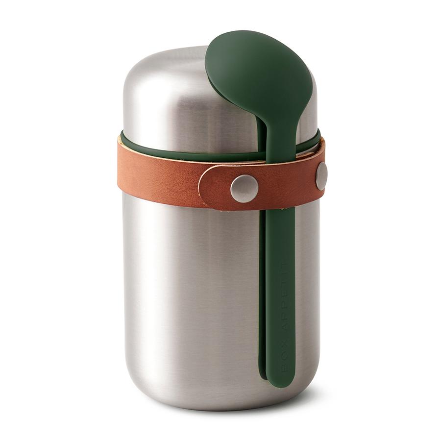 Термос для горячего Black+Blum Food Flask оливковый BAM-FF-S010Ланч-боксы<br>Компактный ланч-бокс для горячего поместится в сумку или рюкзак и всегда порадует теплой и вкусной едой. Современный дизайн сочетается с хорошей функциональностью. Вакуумная колба сохраняет пищу горячей до 6 часов или холодной до 8 часов. Плотная крышка предотвращает вытекание жидкости, создает дополнительную изоляцию.<br><br>Корпус ланч-бокса выполнен из нержавеющей стали, устойчивой к коррозии. Специально разработанная форма ложки позволяет доставать пищу с самого дна. Яркий цвет лайма поднимает настроение и улучшает аппетит. После использования ложку можно пристегнуть обратно к ланч-боку с помощью ремня, изготовленного из веганской кожи. <br><br>Объем: 400 мл.<br>