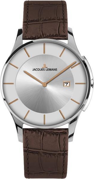 Jacques Lemans 1-1777M - унисекс наручные часы из коллекции LondonJacques Lemans<br><br><br>Бренд: Jacques Lemans<br>Модель: Jacques Lemans 1-1777M<br>Артикул: 1-1777M<br>Вариант артикула: None<br>Коллекция: London<br>Подколлекция: None<br>Страна: Австрия<br>Пол: унисекс<br>Тип механизма: кварцевые<br>Механизм: None<br>Количество камней: None<br>Автоподзавод: None<br>Источник энергии: от батарейки<br>Срок службы элемента питания: None<br>Дисплей: стрелки<br>Цифры: отсутствуют<br>Водозащита: WR 50<br>Противоударные: None<br>Материал корпуса: нерж. сталь<br>Материал браслета: кожа<br>Материал безеля: None<br>Стекло: минеральное<br>Антибликовое покрытие: None<br>Цвет корпуса: None<br>Цвет браслета: None<br>Цвет циферблата: None<br>Цвет безеля: None<br>Размеры: 38 мм<br>Диаметр: None<br>Диаметр корпуса: None<br>Толщина: None<br>Ширина ремешка: None<br>Вес: None<br>Спорт-функции: None<br>Подсветка: None<br>Вставка: None<br>Отображение даты: число<br>Хронограф: None<br>Таймер: None<br>Термометр: None<br>Хронометр: None<br>GPS: None<br>Радиосинхронизация: None<br>Барометр: None<br>Скелетон: None<br>Дополнительная информация: None<br>Дополнительные функции: None