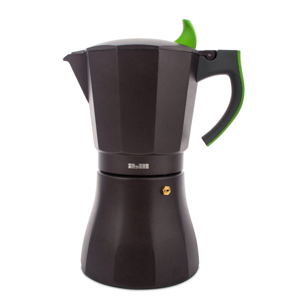 Кофеварка гейзерная на 12 чашек, алюминий, ручка зеленая IBILI L Aroma арт. 621112Посуда для приготовления IBILI (Испания)<br>крышка:естьматериал:алюминийпредметов в наборе (штук):1ручки:фиксированныестрана:Испаниятип варочной поверхности:все типы поверхностей, кроме индукционной<br><br>Гейзерная кофеварка серии L Aroma от Ibili — это отличная возможность побаловать себя чашечкой великолепного ароматного кофе. Кофеварка рассчитана на 12 порций, поэтому вы без труда сможете не только самому насладиться свежим бодрящим напитком, но и угостить им друзей. За считанные минуты прибор приготовит ваш любимый напиток на любой плите, кроме индукционной, и моментально наполнит кухню изумительным ароматом.<br>Прочная алюминиевая основа придает кофеварке легкость и надежность, а стильный «граненый» дизайн с черным матовым покрытием добавит кухонному интерьеру элегантности и особого шарма. Отделка ручки выполнена в двух цветовых вариантах — вы можете выбрать тот, который наиболее гармонично впишется в интерьер вашей кухни.<br>Официальный продавец IBILI<br>