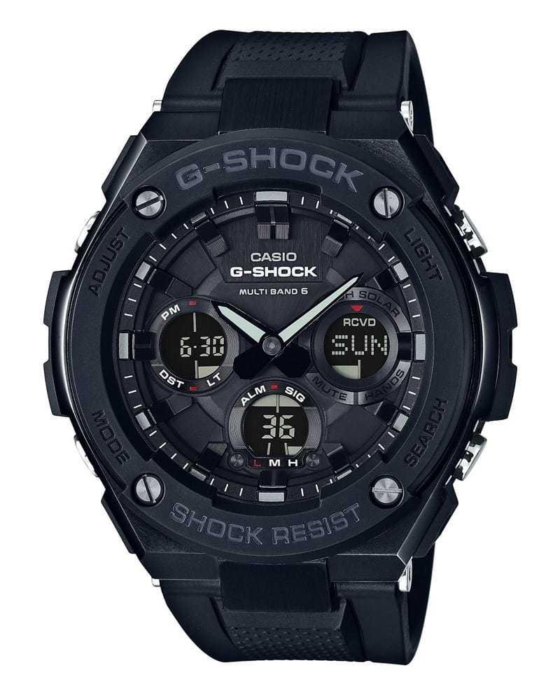 Casio G-SHOCK GST-W100G-1B / GST-W100G-1BER - мужские наручные часыCasio<br><br><br>Бренд: Casio<br>Модель: Casio GST-W100G-1B<br>Артикул: GST-W100G-1B<br>Вариант артикула: GST-W100G-1BER<br>Коллекция: G-SHOCK<br>Подколлекция: None<br>Страна: Япония<br>Пол: мужские<br>Тип механизма: кварцевые<br>Механизм: None<br>Количество камней: None<br>Автоподзавод: None<br>Источник энергии: от солнечной батареи<br>Срок службы элемента питания: None<br>Дисплей: None<br>Цифры: отсутствуют<br>Водозащита: WR 200<br>Противоударные: есть<br>Материал корпуса: нерж. сталь + пластик<br>Материал браслета: нерж. сталь<br>Материал безеля: None<br>Стекло: минеральное<br>Антибликовое покрытие: None<br>Цвет корпуса: None<br>Цвет браслета: None<br>Цвет циферблата: None<br>Цвет безеля: None<br>Размеры: None<br>Диаметр: None<br>Диаметр корпуса: None<br>Толщина: None<br>Ширина ремешка: None<br>Вес: 184 г<br>Спорт-функции: секундомер<br>Подсветка: дисплея, стрелок<br>Вставка: None<br>Отображение даты: число, месяц, день недели<br>Хронограф: есть<br>Таймер: None<br>Термометр: None<br>Хронометр: None<br>GPS: None<br>Радиосинхронизация: None<br>Барометр: None<br>Скелетон: None<br>Дополнительная информация: None<br>Дополнительные функции: индикатор запаса хода, второй часовой пояс, будильник (количество установок: 5)