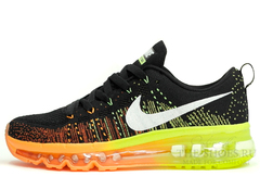 Кроссовки Женские Nike Air Max 2014 Flyknit Black Orange Green