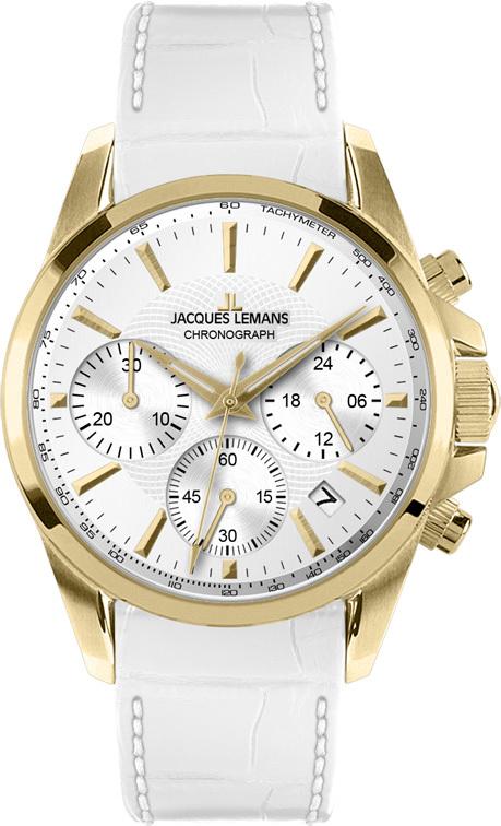 Jacques Lemans 1-1752D - женские наручные часы из коллекции LiverpoolJacques Lemans<br><br><br>Бренд: Jacques Lemans<br>Модель: Jacques Lemans 1-1752D<br>Артикул: 1-1752D<br>Вариант артикула: None<br>Коллекция: Liverpool<br>Подколлекция: None<br>Страна: Австрия<br>Пол: женские<br>Тип механизма: кварцевые<br>Механизм: None<br>Количество камней: None<br>Автоподзавод: None<br>Источник энергии: от батарейки<br>Срок службы элемента питания: None<br>Дисплей: стрелки<br>Цифры: отсутствуют<br>Водозащита: WR 10<br>Противоударные: None<br>Материал корпуса: нерж. сталь, покрытие: позолота (полное)<br>Материал браслета: кожа<br>Материал безеля: None<br>Стекло: Crystex<br>Антибликовое покрытие: None<br>Цвет корпуса: None<br>Цвет браслета: None<br>Цвет циферблата: None<br>Цвет безеля: None<br>Размеры: 35 мм<br>Диаметр: None<br>Диаметр корпуса: None<br>Толщина: None<br>Ширина ремешка: None<br>Вес: None<br>Спорт-функции: секундомер<br>Подсветка: стрелок<br>Вставка: None<br>Отображение даты: число<br>Хронограф: есть<br>Таймер: None<br>Термометр: None<br>Хронометр: None<br>GPS: None<br>Радиосинхронизация: None<br>Барометр: None<br>Скелетон: None<br>Дополнительная информация: None<br>Дополнительные функции: второй часовой пояс