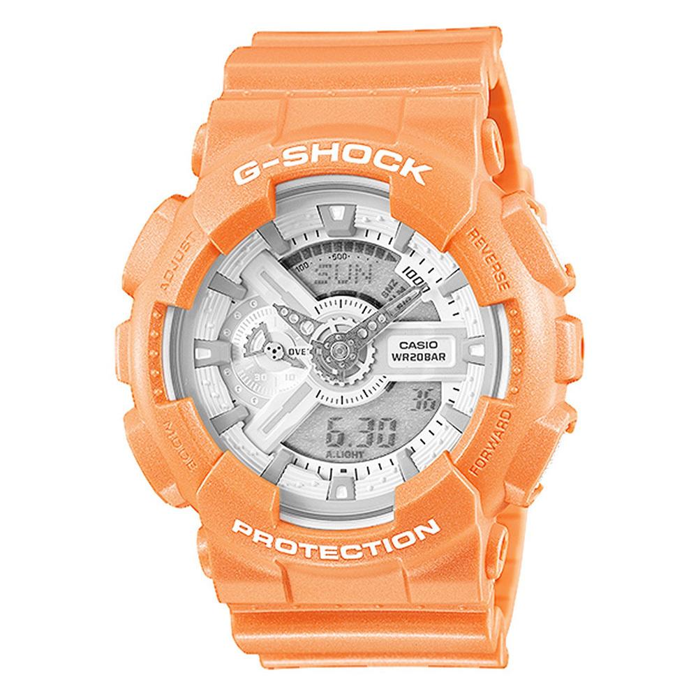 Часы Casio GA-110SG-4AЧАСЫ CASIO<br>Характеристики:<br><br>Электронные часы. <br>Корпус и ремешок выполнены из пластика. <br>Светодиодная подсветка обеспечивает освещение всего циферблата при наклоне часов в сторону лица для считывания, функция автоподсветки обеспечивает автоматическое включение подсветки. <br>Ударопрочная конструкция защищает механизм от ударов и вибрации. <br>Защищены от магнитных полей. <br>Секундомер с точностью показаний 1/1000 с и временем измерения 100ч. <br>Измерение скорости и расстояния. <br>Сплит-хронограф. <br>Таймер обратного отсчета от 1 мин до 24 ч с автоповтором. <br>Мировое время. 12-ти и 24-х часовой формат времени. <br>Способ отображения времени аналоговый + цифровой, формат 12/24 часа, секундная стрелка отсутствует. <br>Точность хода +/- 15 с/мес. <br>Отображение числа, месяца, дня недели. <br>Спорт-функции: секундомер, таймер обратного отсчета. <br>Дополнительные функции: второй часовой пояс, будильник (количество установок: 5). <br>Элемент питания CR1220, срок службы батарейки 2 года. <br>Габариты: 51,2 Х 55 Х 16,9 мм. Вес 70 г.<br>