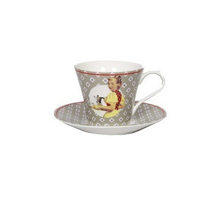 Кофейная чашка с блюдцем Gris (Фарфор и керамика Antic Line, Франция)Фарфор и керамика Antic Line, Франция<br>Кофейная чашка с блюдцем Gris<br>Материал: Фарфор<br>Цветовая гамма: серая<br>Высота чашки 7 см, диам.блюдца 14 см<br>Производитель: Antic Line, Франция<br>