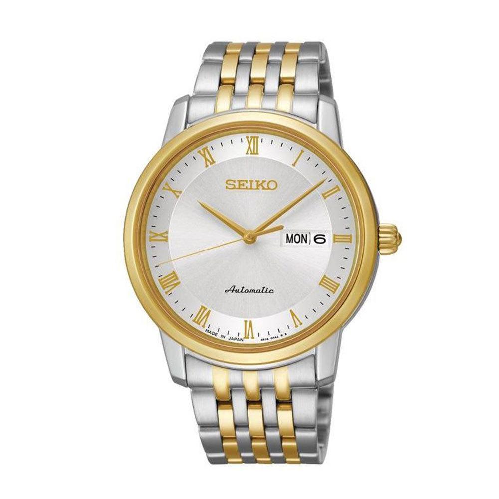 Наручные часы SeikoSeiko Presage<br>Непревзойдённая классика механических часов от SEIKO.Корпус: Сталь / PVD желтого цвета. Браслет: Сталь/ PVD желтого цвета. Сапфировое стекло. Задняя крышка открытая. Индикация даты и дня недели в одном окошке. Защита от воды 100 м.<br>