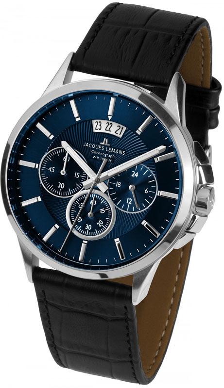 Jacques Lemans 1-1542G - мужские наручные часы из коллекции SydneyJacques Lemans<br><br><br>Бренд: Jacques Lemans<br>Модель: Jacques Lemans 1-1542G<br>Артикул: 1-1542G<br>Вариант артикула: None<br>Коллекция: Sydney<br>Подколлекция: None<br>Страна: Австрия<br>Пол: мужские<br>Тип механизма: кварцевые<br>Механизм: None<br>Количество камней: None<br>Автоподзавод: None<br>Источник энергии: от батарейки<br>Срок службы элемента питания: None<br>Дисплей: стрелки<br>Цифры: отсутствуют<br>Водозащита: WR 10<br>Противоударные: None<br>Материал корпуса: нерж. сталь<br>Материал браслета: кожа<br>Материал безеля: None<br>Стекло: Crystex<br>Антибликовое покрытие: None<br>Цвет корпуса: None<br>Цвет браслета: None<br>Цвет циферблата: None<br>Цвет безеля: None<br>Размеры: 42 мм<br>Диаметр: None<br>Диаметр корпуса: None<br>Толщина: None<br>Ширина ремешка: None<br>Вес: None<br>Спорт-функции: секундомер<br>Подсветка: стрелок<br>Вставка: None<br>Отображение даты: число<br>Хронограф: есть<br>Таймер: None<br>Термометр: None<br>Хронометр: None<br>GPS: None<br>Радиосинхронизация: None<br>Барометр: None<br>Скелетон: None<br>Дополнительная информация: None<br>Дополнительные функции: None