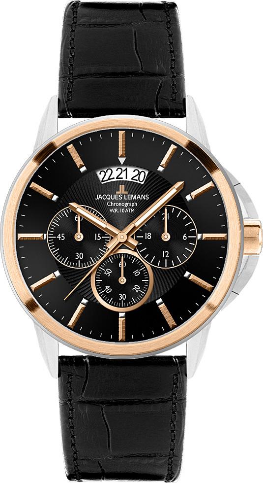 Jacques Lemans 1-1542C - мужские наручные часы из коллекции SydneyJacques Lemans<br><br><br>Бренд: Jacques Lemans<br>Модель: Jacques Lemans 1-1542C<br>Артикул: 1-1542C<br>Вариант артикула: None<br>Коллекция: Sydney<br>Подколлекция: None<br>Страна: Австрия<br>Пол: мужские<br>Тип механизма: кварцевые<br>Механизм: None<br>Количество камней: None<br>Автоподзавод: None<br>Источник энергии: от батарейки<br>Срок службы элемента питания: None<br>Дисплей: стрелки<br>Цифры: отсутствуют<br>Водозащита: WR 10<br>Противоударные: None<br>Материал корпуса: нерж. сталь, покрытие: позолота (частичное)<br>Материал браслета: кожа<br>Материал безеля: None<br>Стекло: Crystex<br>Антибликовое покрытие: None<br>Цвет корпуса: None<br>Цвет браслета: None<br>Цвет циферблата: None<br>Цвет безеля: None<br>Размеры: 42x42 мм<br>Диаметр: None<br>Диаметр корпуса: None<br>Толщина: None<br>Ширина ремешка: None<br>Вес: None<br>Спорт-функции: секундомер<br>Подсветка: стрелок<br>Вставка: None<br>Отображение даты: число<br>Хронограф: есть<br>Таймер: None<br>Термометр: None<br>Хронометр: None<br>GPS: None<br>Радиосинхронизация: None<br>Барометр: None<br>Скелетон: None<br>Дополнительная информация: None<br>Дополнительные функции: None