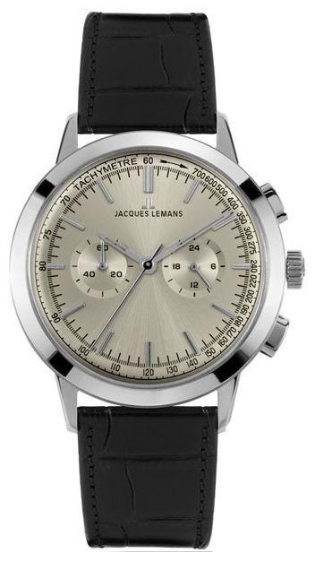 Jacques Lemans N-1564A - мужские наручные часы из коллекции NostalgieJacques Lemans<br><br><br>Бренд: Jacques Lemans<br>Модель: Jacques Lemans N-1564A<br>Артикул: N-1564A<br>Вариант артикула: None<br>Коллекция: Nostalgie<br>Подколлекция: None<br>Страна: Австрия<br>Пол: мужские<br>Тип механизма: кварцевые<br>Механизм: None<br>Количество камней: None<br>Автоподзавод: None<br>Источник энергии: от батарейки<br>Срок службы элемента питания: None<br>Дисплей: стрелки<br>Цифры: отсутствуют<br>Водозащита: WR 50<br>Противоударные: None<br>Материал корпуса: нерж. сталь<br>Материал браслета: кожа<br>Материал безеля: None<br>Стекло: минеральное<br>Антибликовое покрытие: None<br>Цвет корпуса: None<br>Цвет браслета: None<br>Цвет циферблата: None<br>Цвет безеля: None<br>Размеры: None<br>Диаметр: None<br>Диаметр корпуса: None<br>Толщина: None<br>Ширина ремешка: None<br>Вес: None<br>Спорт-функции: секундомер<br>Подсветка: None<br>Вставка: None<br>Отображение даты: None<br>Хронограф: есть<br>Таймер: None<br>Термометр: None<br>Хронометр: None<br>GPS: None<br>Радиосинхронизация: None<br>Барометр: None<br>Скелетон: None<br>Дополнительная информация: None<br>Дополнительные функции: None