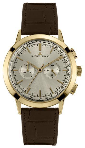 Jacques Lemans N-1564B - мужские наручные часы из коллекции NostalgieJacques Lemans<br><br><br>Бренд: Jacques Lemans<br>Модель: Jacques Lemans N-1564B<br>Артикул: N-1564B<br>Вариант артикула: None<br>Коллекция: Nostalgie<br>Подколлекция: None<br>Страна: Австрия<br>Пол: мужские<br>Тип механизма: кварцевые<br>Механизм: None<br>Количество камней: None<br>Автоподзавод: None<br>Источник энергии: от батарейки<br>Срок службы элемента питания: None<br>Дисплей: стрелки<br>Цифры: отсутствуют<br>Водозащита: WR 50<br>Противоударные: None<br>Материал корпуса: нерж. сталь, покрытие: позолота<br>Материал браслета: кожа<br>Материал безеля: None<br>Стекло: минеральное<br>Антибликовое покрытие: None<br>Цвет корпуса: None<br>Цвет браслета: None<br>Цвет циферблата: None<br>Цвет безеля: None<br>Размеры: None<br>Диаметр: None<br>Диаметр корпуса: None<br>Толщина: None<br>Ширина ремешка: None<br>Вес: None<br>Спорт-функции: секундомер<br>Подсветка: None<br>Вставка: None<br>Отображение даты: None<br>Хронограф: есть<br>Таймер: None<br>Термометр: None<br>Хронометр: None<br>GPS: None<br>Радиосинхронизация: None<br>Барометр: None<br>Скелетон: None<br>Дополнительная информация: None<br>Дополнительные функции: None