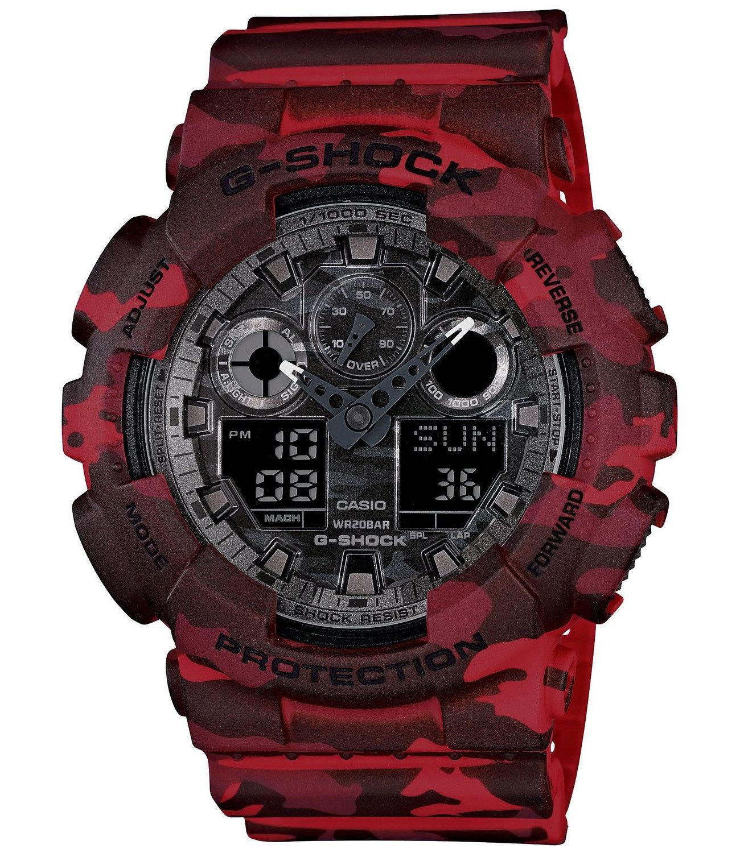 Casio G-SHOCK GA-100CM-4A / GA-100CM-4AER - мужские наручные часыCasio<br><br><br>Бренд: Casio<br>Модель: Casio GA-100CM-4A<br>Артикул: GA-100CM-4A<br>Вариант артикула: GA-100CM-4AER<br>Коллекция: G-SHOCK<br>Подколлекция: None<br>Страна: Япония<br>Пол: мужские<br>Тип механизма: кварцевые<br>Механизм: None<br>Количество камней: None<br>Автоподзавод: None<br>Источник энергии: от батарейки<br>Срок службы элемента питания: None<br>Дисплей: стрелки + цифры<br>Цифры: отсутствуют<br>Водозащита: WR 200<br>Противоударные: есть<br>Материал корпуса: пластик<br>Материал браслета: пластик<br>Материал безеля: None<br>Стекло: минеральное<br>Антибликовое покрытие: None<br>Цвет корпуса: None<br>Цвет браслета: None<br>Цвет циферблата: None<br>Цвет безеля: None<br>Размеры: 51.2x55x16.9 мм<br>Диаметр: None<br>Диаметр корпуса: None<br>Толщина: None<br>Ширина ремешка: None<br>Вес: 72 г<br>Спорт-функции: секундомер, таймер обратного отсчета<br>Подсветка: дисплея<br>Вставка: None<br>Отображение даты: вечный календарь, число, месяц, день недели<br>Хронограф: None<br>Таймер: None<br>Термометр: None<br>Хронометр: None<br>GPS: None<br>Радиосинхронизация: None<br>Барометр: None<br>Скелетон: None<br>Дополнительная информация: автоподсветка, повтор сигнала будильника, ежечасный сигнал, защитная функция антимагнит; элемент питания CR1220, срок службы батарейки 2 года<br>Дополнительные функции: второй часовой пояс, будильник (количество установок: 5)