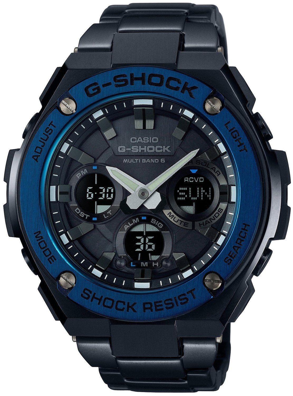 Casio G-SHOCK GST-W110BD-1A2 / GST-W110BD-1A2ER - мужские наручные часыCasio<br><br><br>Бренд: Casio<br>Модель: Casio GST-W110BD-1A2<br>Артикул: GST-W110BD-1A2<br>Вариант артикула: GST-W110BD-1A2ER<br>Коллекция: G-SHOCK<br>Подколлекция: None<br>Страна: Япония<br>Пол: мужские<br>Тип механизма: кварцевые<br>Механизм: None<br>Количество камней: None<br>Автоподзавод: None<br>Источник энергии: от солнечной батареи<br>Срок службы элемента питания: None<br>Дисплей: None<br>Цифры: отсутствуют<br>Водозащита: WR 200<br>Противоударные: есть<br>Материал корпуса: нерж. сталь + пластик, IP покрытие (полное)<br>Материал браслета: нерж. сталь, IP покрытие (полное)<br>Материал безеля: None<br>Стекло: минеральное<br>Антибликовое покрытие: None<br>Цвет корпуса: None<br>Цвет браслета: None<br>Цвет циферблата: None<br>Цвет безеля: None<br>Размеры: None<br>Диаметр: None<br>Диаметр корпуса: None<br>Толщина: None<br>Ширина ремешка: None<br>Вес: 195 г<br>Спорт-функции: секундомер, таймер обратного отсчета<br>Подсветка: дисплея, стрелок<br>Вставка: None<br>Отображение даты: вечный календарь, число, месяц, день недели<br>Хронограф: None<br>Таймер: None<br>Термометр: None<br>Хронометр: None<br>GPS: None<br>Радиосинхронизация: есть<br>Барометр: None<br>Скелетон: None<br>Дополнительная информация: автоподсветка, ежечасный сигнал, функция включения/отключения звука кнопок, функция перемещения стрелок<br>Дополнительные функции: индикатор запаса хода, второй часовой пояс, будильник (количество установок: 5)