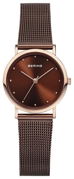 Bering 13426-265 - женские наручные часыBering<br>женские, сапфировое стекло, корпус из нерж. стали с покрытием pvd цвета розового золота,  браслет из нерж. стали шоколадного цвета, циферблат шоколадного цвета<br><br>Бренд: Bering<br>Модель: Bering 13426-265<br>Артикул: 13426-265<br>Вариант артикула: ber-13426-265<br>Коллекция: None<br>Подколлекция: None<br>Страна: Дания<br>Пол: женские<br>Тип механизма: кварцевые<br>Механизм: None<br>Количество камней: None<br>Автоподзавод: None<br>Источник энергии: от батарейки<br>Срок службы элемента питания: None<br>Дисплей: стрелки<br>Цифры: отсутствуют<br>Водозащита: WR 30<br>Противоударные: None<br>Материал корпуса: нерж. сталь, IP покрытие (полное)<br>Материал браслета: нерж. сталь, IP покрытие (полное)<br>Материал безеля: None<br>Стекло: сапфировое<br>Антибликовое покрытие: None<br>Цвет корпуса: None<br>Цвет браслета: None<br>Цвет циферблата: None<br>Цвет безеля: None<br>Размеры: None<br>Диаметр: None<br>Диаметр корпуса: 26<br>Толщина: None<br>Ширина ремешка: None<br>Вес: None<br>Спорт-функции: None<br>Подсветка: None<br>Вставка: None<br>Отображение даты: None<br>Хронограф: None<br>Таймер: None<br>Термометр: None<br>Хронометр: None<br>GPS: None<br>Радиосинхронизация: None<br>Барометр: None<br>Скелетон: None<br>Дополнительная информация: None<br>Дополнительные функции: None