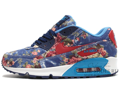 Кроссовки Женские Nike Air Max 90 Essential Blue Red Flower Print