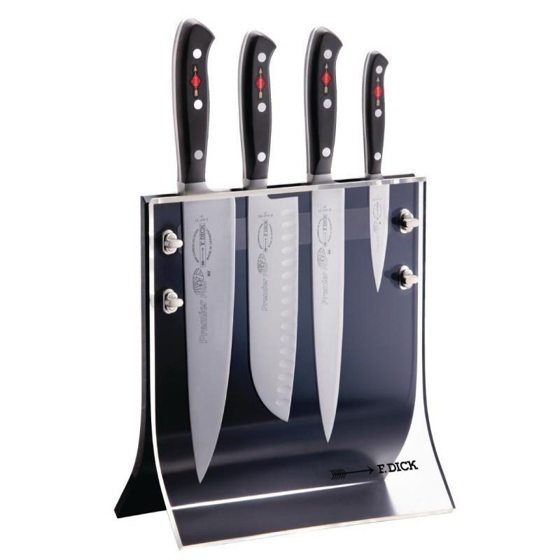 Набор из 4 кованых ножей DICK Premier Plus в прозрачной магнитной подставке 88040110Наборы однослойных ножей (от-2300руб.)<br>Набор из 4 кованых ножей DICK Premier Plus в прозрачной магнитной подставке 88040110<br><br>Состав набора:<br><br>Нож сантоку, 18 см<br>Поварской нож, 23 см<br>Хлебный нож, 21 см<br>Нож овощной, 9 см<br>Подставка<br><br>Компания Friedr. DICK использует запатентованную технологию закалки лезвий своих ножей. Данная технология позволяет затачивать клинки под углом 30 градусов (угол между режущими кромками) без вероятности ломки режущей кромки, что делает ножи самыми острыми в классе. Компания Friedr. DiCK является одной из немногих, кто производит настоящие легендарные кованые ножи из дамасской стали, в то время, как большинство производителей в наши дни просто наносят на лезвие ножа характерный для дамасской стали рисунок при помощи порошковой стали. В компании Friedr. DICK уделяют немалое внимание также и гигиеничности в использовании кухонных ножей. Поэтому в ассортименте Вы всегда найдете удобные и функциональные подставки для ножей из пластика. Этот материал выглядит современно и в нем не могут размножаться бактерии, он очень гигиеничен и практичен. Вся продукция торговой марки DICK имеет подарочную упаковку, что делает ее чрезвычайно привлекательной для покупки в подарок.<br>