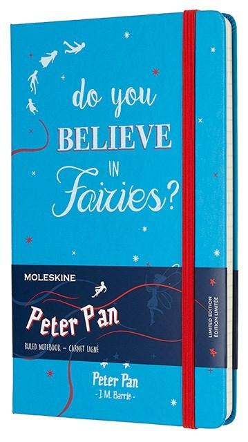 Блокнот Moleskine Peter Pan Large Limited Edition, цвет голубой Fairies, в линейкуMOLESKINE<br>Количество страниц: 240<br><br><br><br><br><br><br>Плотность листов: 70<br>