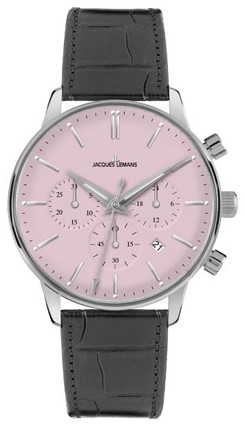 Jacques Lemans N-209F - унисекс наручные часы из коллекции ClassicJacques Lemans<br><br><br>Бренд: Jacques Lemans<br>Модель: Jacques Lemans N-209F<br>Артикул: N-209F<br>Вариант артикула: None<br>Коллекция: Classic<br>Подколлекция: None<br>Страна: Австрия<br>Пол: унисекс<br>Тип механизма: кварцевые<br>Механизм: None<br>Количество камней: None<br>Автоподзавод: None<br>Источник энергии: от батарейки<br>Срок службы элемента питания: None<br>Дисплей: стрелки<br>Цифры: отсутствуют<br>Водозащита: WR 50<br>Противоударные: None<br>Материал корпуса: нерж. сталь<br>Материал браслета: кожа<br>Материал безеля: None<br>Стекло: пластиковое<br>Антибликовое покрытие: None<br>Цвет корпуса: None<br>Цвет браслета: None<br>Цвет циферблата: None<br>Цвет безеля: None<br>Размеры: 39 мм<br>Диаметр: None<br>Диаметр корпуса: None<br>Толщина: None<br>Ширина ремешка: None<br>Вес: None<br>Спорт-функции: секундомер<br>Подсветка: стрелок<br>Вставка: None<br>Отображение даты: число<br>Хронограф: есть<br>Таймер: None<br>Термометр: None<br>Хронометр: None<br>GPS: None<br>Радиосинхронизация: None<br>Барометр: None<br>Скелетон: None<br>Дополнительная информация: None<br>Дополнительные функции: None