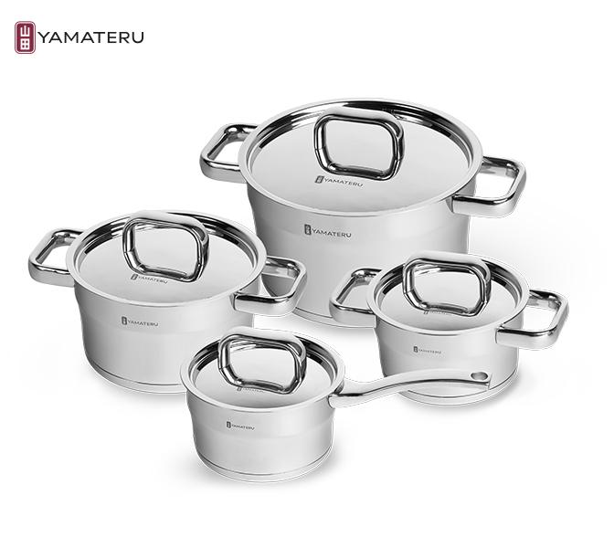 Набор посуды 8 предметов Yamateru Hoshi YHOSET8Наборы посуды<br>Набор посуды 8 предметов Yamateru Hoshi YHOSET8<br><br><br>Original Japan Inox Steel — коллекция кастрюль, созданная специально для домашнего использования и воплощающая все новейшие достижения компании в области производства посуды. Важная черта конструкции всех элементов коллекции — тройное капсулированное дно. <br>Основная особенность этой технологии заключается в том, что между двумя слоями нержавеющей стали (внешним и внутренним) установлен особый теплораспределительный диск из алюминия. Это позволяет добиться максимально ровного прогревания всей емкости даже на небольших конфорках, а значит избежать пригорания пищи с одной стороны и недостаточного запекания с другой. Тройное дно — не единственная инновация, которая нашла применение в производстве посуды Original Japan Inox Steel.<br><br><br>Отдельно стоит отметить и другие технологические решения: антипригарное покрытие DuPont™ Platinum Plus, лазерную маркировку емкости, износостойкую и матовую полировку.<br>В набор Yamateru Hoshiвходит:<br><br><br><br><br><br>Ковш Yamateru Hoshi16 см +крышка из нержавеющей стали<br>Диаметр: 16см<br>Объем: 1,7л<br>Толщина дна: 7,6мм<br>Толщина стенок: 1мм<br>Высота стенок: 9см<br><br><br><br><br><br>КастрюляYamateru Hoshi 16см +крышка из нержавеющей стали<br>Диаметр: 16см<br>Объем: 1,7л<br>Толщина дна: 7,6мм<br>Толщина стенок: 1мм<br>Высота стенок: 9см<br><br><br><br><br><br>КастрюляYamateru Hoshi20 см +крышка из нержавеющей стали<br>Диаметр: 20см<br>Объем: 3,1л<br>Толщина дна: 7,6мм<br>Толщина стенок: 1мм<br>Высота стенок: 11см<br><br><br><br><br><br>Кастрюля Yamateru Hoshi24 см + крышка из нержавеющей стали<br>Диаметр: 24см<br>Объем: 5,9л<br>Толщина дна: 3мм<br>Толщина стенок: 3мм<br>Высота стенок: 14см<br><br><br><br><br>Отличительные особенности посудыYamateru Hoshi:<br><br>Уникальный корпус с переходящим диаметром.<br>Тройное капсулированное дно (между внешним и внутренним слоем нержавеющей стали установлен т