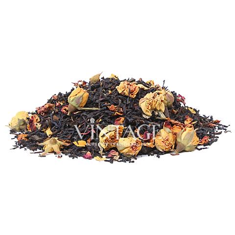 Мелодия Поднебесной (чай черный байховый ароматизированный листовой)Весовой чай<br>Мелодия Поднебесной (чай черный байховый ароматизированный листовой)<br><br><br><br><br><br><br><br><br><br>Время заваривания<br>Температура заваривания<br>Количество заварки<br><br><br><br>Рекомендуемое время заваривания 4-5мин.<br><br><br>Рекомендуемая температура заваривания 90-95 °С<br><br><br>Рекомендуемое количество заварки 3-4гр из расчета на 200-300мл.<br><br><br><br><br><br>Состав:черный чай из Индии, Китая и Кении, розовые бутоны роз, желтые бутоны роз, кусочки ванили, красные лепестки розы.<br>Описание:розу отличает богатое содержание полезных химических элементов: йод - для щитовидной железы, селен - для продления молодости клеток и кожи, цинк - укрепляет волосы и ногти, и железо повышающее гемоглобин.<br>