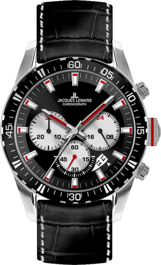 Jacques Lemans 1-1801C - мужские наручные часы из коллекции LiverpoolJacques Lemans<br><br><br>Бренд: Jacques Lemans<br>Модель: Jacques Lemans 1-1801C<br>Артикул: 1-1801C<br>Вариант артикула: None<br>Коллекция: Liverpool<br>Подколлекция: None<br>Страна: Австрия<br>Пол: мужские<br>Тип механизма: кварцевые<br>Механизм: None<br>Количество камней: None<br>Автоподзавод: None<br>Источник энергии: от батарейки<br>Срок службы элемента питания: None<br>Дисплей: стрелки<br>Цифры: отсутствуют<br>Водозащита: WR 10<br>Противоударные: None<br>Материал корпуса: нерж. сталь<br>Материал браслета: кожа<br>Материал безеля: None<br>Стекло: Crystex<br>Антибликовое покрытие: None<br>Цвет корпуса: None<br>Цвет браслета: None<br>Цвет циферблата: None<br>Цвет безеля: None<br>Размеры: 41 мм<br>Диаметр: None<br>Диаметр корпуса: None<br>Толщина: None<br>Ширина ремешка: None<br>Вес: None<br>Спорт-функции: секундомер<br>Подсветка: стрелок<br>Вставка: None<br>Отображение даты: число<br>Хронограф: есть<br>Таймер: None<br>Термометр: None<br>Хронометр: None<br>GPS: None<br>Радиосинхронизация: None<br>Барометр: None<br>Скелетон: None<br>Дополнительная информация: None<br>Дополнительные функции: None