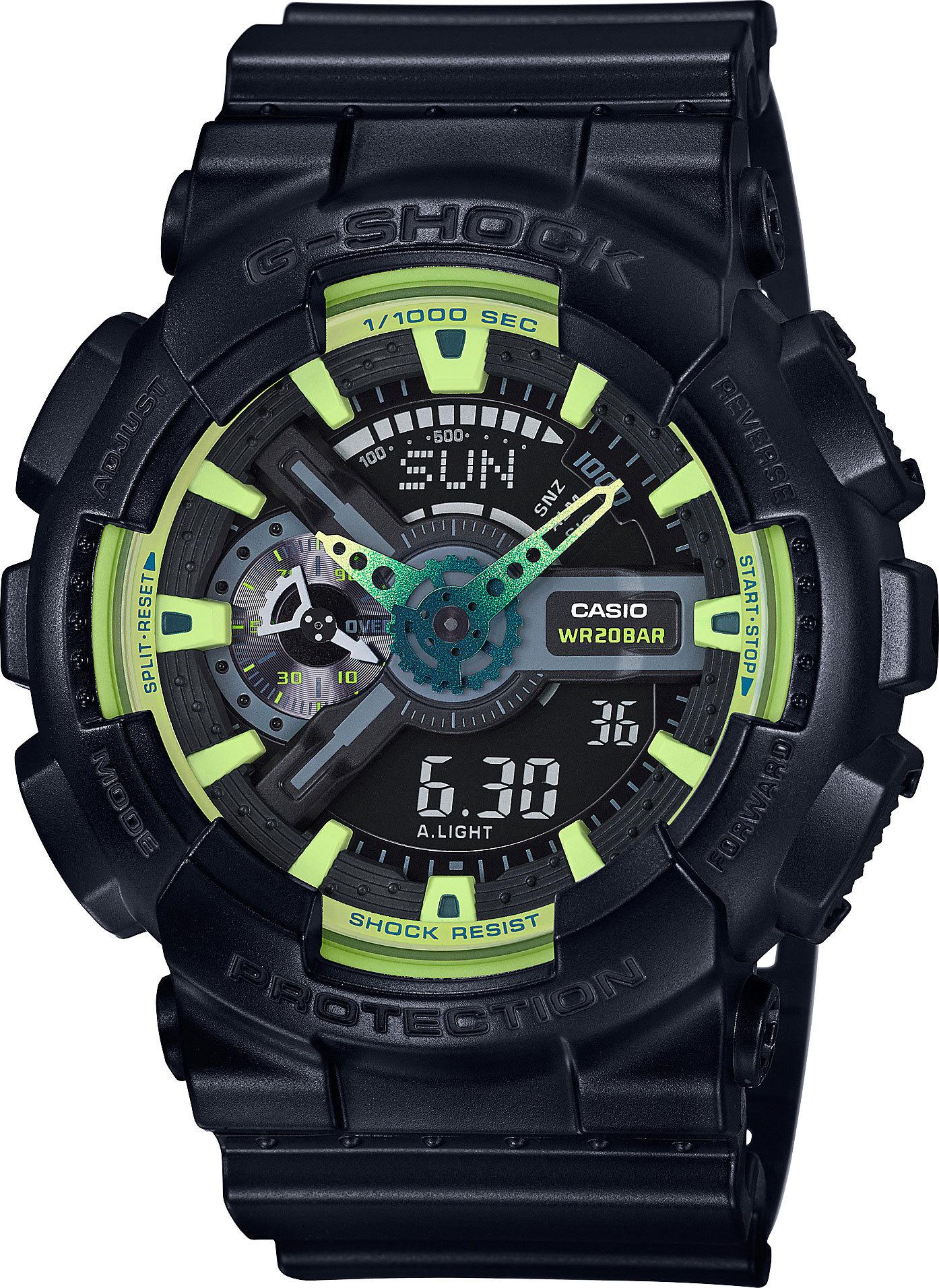 Casio G-SHOCK GA-110LY-1A / GA-110LY-1AER - мужские наручные часыCasio<br><br><br>Бренд: Casio<br>Модель: Casio GA-110LY-1A<br>Артикул: GA-110LY-1A<br>Вариант артикула: GA-110LY-1AER<br>Коллекция: G-SHOCK<br>Подколлекция: None<br>Страна: Япония<br>Пол: мужские<br>Тип механизма: кварцевые<br>Механизм: None<br>Количество камней: None<br>Автоподзавод: None<br>Источник энергии: от батарейки<br>Срок службы элемента питания: None<br>Дисплей: стрелки + цифры<br>Цифры: отсутствуют<br>Водозащита: WR 200<br>Противоударные: None<br>Материал корпуса: пластик<br>Материал браслета: пластик<br>Материал безеля: None<br>Стекло: минеральное<br>Антибликовое покрытие: None<br>Цвет корпуса: None<br>Цвет браслета: None<br>Цвет циферблата: None<br>Цвет безеля: None<br>Размеры: 51.2x55x16.9 мм<br>Диаметр: None<br>Диаметр корпуса: None<br>Толщина: None<br>Ширина ремешка: None<br>Вес: 72 г<br>Спорт-функции: секундомер, таймер обратного отсчета<br>Подсветка: дисплея, стрелок<br>Вставка: None<br>Отображение даты: вечный календарь, число, месяц, день недели<br>Хронограф: None<br>Таймер: None<br>Термометр: None<br>Хронометр: None<br>GPS: None<br>Радиосинхронизация: None<br>Барометр: None<br>Скелетон: None<br>Дополнительная информация: ежечасный сигнал, повтор сигнала будильника, защита от магнитных полей; элемент питания CR1220<br>Дополнительные функции: второй часовой пояс, будильник (количество установок: 5)