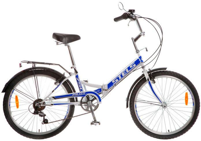 Stels Pilot 750 (2016)от 9 лет<br>Велосипед Stels Pilot 750, новой сборки 2016 года. Велосипед оснащен стальной рамой со складным механизмом, благодаря которому Вы сэкономите много места в квартире. Установлено навесное оборудование Shimano на 6 скоростей, жесткая вилка, усиленные обода с двойными стенками и ободные механические тормоза V-brake Power. В комплектацию входят: стальные крылья, стальной багажник с зажимом, защита цепи, подножка, насос, звонок и зеркало заднего вида. Диаметр колес - 24 дюйма.<br>