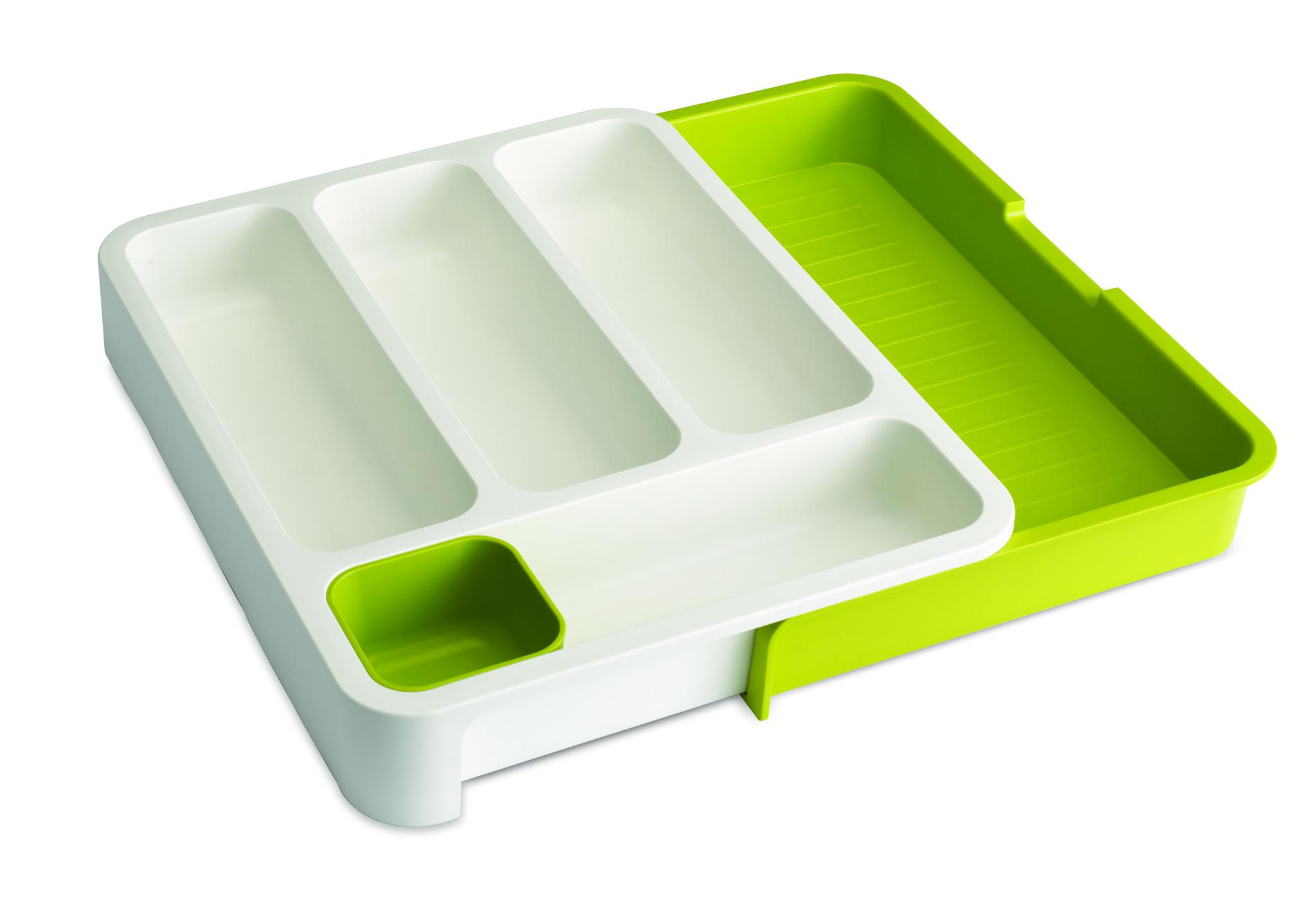 Органайзер для столовых приборов Joseph Joseph drawerstore™ раздвижной белый/зеленый 85041Держатели для столовых приборов<br>Органайзер для столовых приборов Joseph Joseph drawerstore™ раздвижной белый/зеленый 85041<br><br>Бестселлер по продажам в Великобритании! Замечательный органайзер-лоток для хранения столовых приборов поможет навести на кухне полный порядок и расставить все по местам. С помощью специальной съемной части вы сможете отрегулировать размер до желаемого и поместить в ящик. Имеет специальную съемную ячейку для хранения всякой мелочевки как в лотке, так и вне его. В разобранном состоянии: 5,5 х 48 х 36,5 см. В собранном: 5,5 х 28,3 х 36,5 см.<br>Официальный продавец<br>