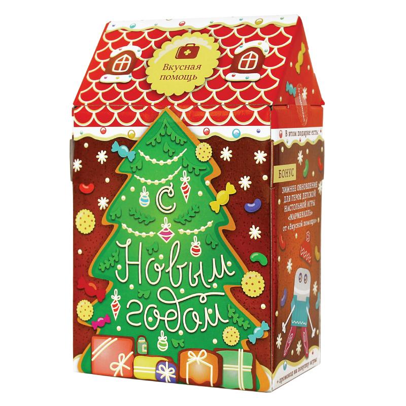 Карамельный домик для детей «Новогодняя радость»Новогодние наборы<br>Детский новогодний набор: карамельный домик с сюрпризом<br><br><br>Кому подарить: деткам, которые любят Новый год, мы разработали этот набор для самых маленьких членов вашей семьи. Дарите радость своим малышам!<br>Что внутри: Сказочное наполнение коробочки принесет несомненный восторг, внутри столько подарков, что соскучится будет некогда!<br>Пухлые шоколадно-вафельные конфетки в ореховой крошке с нежной сливочной начинкой<br>Неизменный символ Нового года – ментоловый посох Деда Мороза<br>Золотые Мишки из мармелада<br>Печенье Медвежата со вкусом сливок<br>Фирменное печенье Вкусная помощь (сюрприз к игре Мармевилль)<br><br>Красивая упаковка: Милый домик из качественного картона из сказки с окошками-наклейками, под которыми прячутся новогодние мини пожелания и поздравления. После поедания всех конфет, с домиком можно играть<br><br><br>Размер (ДхШхВ): 25,0 см х 16,0 см х 9,5 см.<br>Производитель: Россия<br>Срок годности:12 месяцев<br>