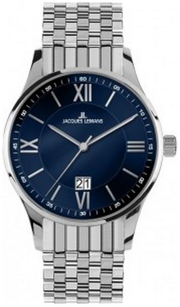 Jacques Lemans 1-1845J - мужские наручные часы из коллекции LondonJacques Lemans<br><br><br>Бренд: Jacques Lemans<br>Модель: Jacques Lemans 1-1845J<br>Артикул: 1-1845J<br>Вариант артикула: None<br>Коллекция: London<br>Подколлекция: None<br>Страна: Австрия<br>Пол: мужские<br>Тип механизма: кварцевые<br>Механизм: None<br>Количество камней: None<br>Автоподзавод: None<br>Источник энергии: от батарейки<br>Срок службы элемента питания: None<br>Дисплей: стрелки<br>Цифры: римские<br>Водозащита: WR 10<br>Противоударные: None<br>Материал корпуса: нерж. сталь<br>Материал браслета: нерж. сталь<br>Материал безеля: None<br>Стекло: Crystex<br>Антибликовое покрытие: None<br>Цвет корпуса: None<br>Цвет браслета: None<br>Цвет циферблата: None<br>Цвет безеля: None<br>Размеры: 40 мм<br>Диаметр: None<br>Диаметр корпуса: None<br>Толщина: None<br>Ширина ремешка: None<br>Вес: None<br>Спорт-функции: None<br>Подсветка: None<br>Вставка: None<br>Отображение даты: число<br>Хронограф: None<br>Таймер: None<br>Термометр: None<br>Хронометр: None<br>GPS: None<br>Радиосинхронизация: None<br>Барометр: None<br>Скелетон: None<br>Дополнительная информация: None<br>Дополнительные функции: None