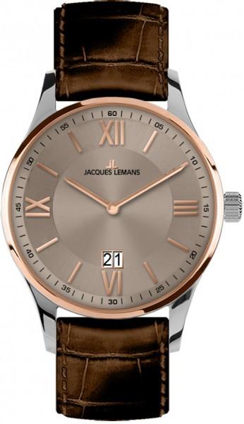 Jacques Lemans 1-1845E - мужские наручные часы из коллекции LondonJacques Lemans<br><br><br>Бренд: Jacques Lemans<br>Модель: Jacques Lemans 1-1845E<br>Артикул: 1-1845E<br>Вариант артикула: None<br>Коллекция: London<br>Подколлекция: None<br>Страна: Австрия<br>Пол: мужские<br>Тип механизма: кварцевые<br>Механизм: None<br>Количество камней: None<br>Автоподзавод: None<br>Источник энергии: от батарейки<br>Срок службы элемента питания: None<br>Дисплей: стрелки<br>Цифры: римские<br>Водозащита: WR 10<br>Противоударные: None<br>Материал корпуса: нерж. сталь, IP покрытие (частичное)<br>Материал браслета: кожа<br>Материал безеля: None<br>Стекло: Crystex<br>Антибликовое покрытие: None<br>Цвет корпуса: None<br>Цвет браслета: None<br>Цвет циферблата: None<br>Цвет безеля: None<br>Размеры: 40 мм<br>Диаметр: None<br>Диаметр корпуса: None<br>Толщина: None<br>Ширина ремешка: None<br>Вес: None<br>Спорт-функции: None<br>Подсветка: None<br>Вставка: None<br>Отображение даты: число<br>Хронограф: None<br>Таймер: None<br>Термометр: None<br>Хронометр: None<br>GPS: None<br>Радиосинхронизация: None<br>Барометр: None<br>Скелетон: None<br>Дополнительная информация: None<br>Дополнительные функции: None