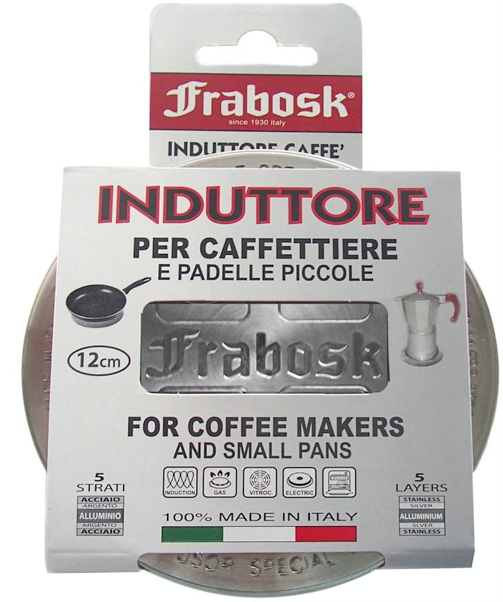 Диск-переходник Frabosk 12см для индукционной плиты 09900Посуда для приготовления<br>Страна производитель: Италия Компания Frabosk является крупнейшим производителем индукционных систем в Европе. Десятки европейских компаний устанавливают индукционное дно на свою посуду именно на фабриках Frabosk. Frabosk - это эксперт в индукционных системах для кухонной посуды! Данный диск выполнен из высококачественной нержавеющей ферро-магнитной стали, идеальной для использования на индукционных плитах последнего поколения. Он позволяет Вам использовать посуду из стекла, керамики или меди на индукционных плитах. Толщина трехслойной сендвич-конструкции адаптера 3мм, что намного больше толщины индукционного диска любой сковороды. Удобен для использования в качестве рассекателя на газовых плитах, например, для турки. Возможно использование в качестве подставки под горячее или для адаптации большой конфорки под посуду маленького размера на всех видах плит.Данный небольшой индукционный диск оптимален для использования с посудой небольшого и среднего размера, например, с туркой, кофеваркой или сковородой до 24 см.ВажноЗапрещается нагревать адаптер без установленной на него посуды. Дно посуды должно быть ровным и обеспечивать контакт со всей поверхностью диска. Надо учитывать, что индукционная плита разогреет диск очень быстро, гораздо быстрее, чем другие виды плит, поэтому если оставить его на включенной конфорке без должного теплоотвода, он может повредить поверхность плиты. Особенно это актуально для дешевых плит, поверхность которых не является достаточно жаропрочной.После приготовления пищи, необходимо сначала выключить плиту, потом снять посуду и сдвинуть диск на соседнюю конфорку или на место между конфорками.<br>
