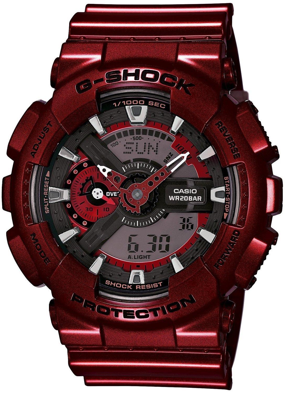 Casio G-SHOCK GA-110NM-4A / GA-110NM-4AER - мужские наручные часыCasio<br><br><br>Бренд: Casio<br>Модель: Casio GA-110NM-4A<br>Артикул: GA-110NM-4A<br>Вариант артикула: GA-110NM-4AER<br>Коллекция: G-SHOCK<br>Подколлекция: None<br>Страна: Япония<br>Пол: мужские<br>Тип механизма: кварцевые<br>Механизм: None<br>Количество камней: None<br>Автоподзавод: None<br>Источник энергии: от батарейки<br>Срок службы элемента питания: None<br>Дисплей: стрелки + цифры<br>Цифры: отсутствуют<br>Водозащита: WR 200<br>Противоударные: есть<br>Материал корпуса: пластик<br>Материал браслета: пластик<br>Материал безеля: None<br>Стекло: минеральное<br>Антибликовое покрытие: None<br>Цвет корпуса: None<br>Цвет браслета: None<br>Цвет циферблата: None<br>Цвет безеля: None<br>Размеры: None<br>Диаметр: None<br>Диаметр корпуса: None<br>Толщина: None<br>Ширина ремешка: None<br>Вес: 72 г<br>Спорт-функции: секундомер<br>Подсветка: дисплея, стрелок<br>Вставка: None<br>Отображение даты: число, месяц, день недели<br>Хронограф: есть<br>Таймер: None<br>Термометр: None<br>Хронометр: None<br>GPS: None<br>Радиосинхронизация: None<br>Барометр: None<br>Скелетон: None<br>Дополнительная информация: None<br>Дополнительные функции: второй часовой пояс, будильник (количество установок: 5)