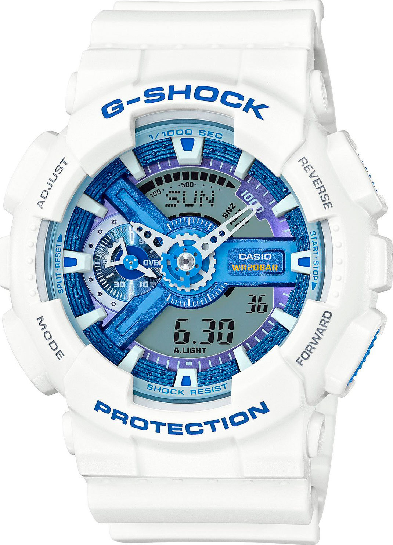 Casio G-SHOCK GA-110WB-7A / GA-110WB-7AER - мужские наручные часыCasio<br><br><br>Бренд: Casio<br>Модель: Casio GA-110WB-7A<br>Артикул: GA-110WB-7A<br>Вариант артикула: GA-110WB-7AER<br>Коллекция: G-SHOCK<br>Подколлекция: None<br>Страна: Япония<br>Пол: мужские<br>Тип механизма: кварцевые<br>Механизм: None<br>Количество камней: None<br>Автоподзавод: None<br>Источник энергии: от батарейки<br>Срок службы элемента питания: None<br>Дисплей: стрелки + цифры<br>Цифры: отсутствуют<br>Водозащита: WR 200<br>Противоударные: None<br>Материал корпуса: пластик<br>Материал браслета: пластик<br>Материал безеля: None<br>Стекло: минеральное<br>Антибликовое покрытие: None<br>Цвет корпуса: None<br>Цвет браслета: None<br>Цвет циферблата: None<br>Цвет безеля: None<br>Размеры: 51.2x55x16.9 мм<br>Диаметр: None<br>Диаметр корпуса: None<br>Толщина: None<br>Ширина ремешка: None<br>Вес: 72 г<br>Спорт-функции: секундомер, таймер обратного отсчета<br>Подсветка: дисплея, стрелок<br>Вставка: None<br>Отображение даты: вечный календарь, число, месяц, день недели<br>Хронограф: None<br>Таймер: None<br>Термометр: None<br>Хронометр: None<br>GPS: None<br>Радиосинхронизация: None<br>Барометр: None<br>Скелетон: None<br>Дополнительная информация: ежечасный сигнал, повтор сигнала будильника, защита от магнитных полей; элемент питания CR1220<br>Дополнительные функции: второй часовой пояс, будильник (количество установок: 5)