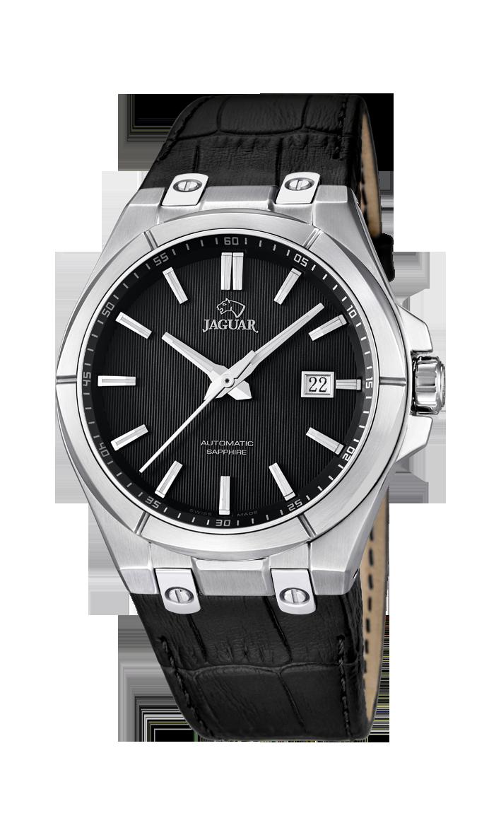 Jaguar J670_3 - мужские наручные часыJaguar<br><br><br>Бренд: Jaguar<br>Модель: Jaguar J670_3<br>Артикул: J670_3<br>Вариант артикула: None<br>Коллекция: None<br>Подколлекция: None<br>Страна: Швейцария<br>Пол: мужские<br>Тип механизма: механические<br>Механизм: None<br>Количество камней: None<br>Автоподзавод: есть<br>Источник энергии: пружинный механизм<br>Срок службы элемента питания: None<br>Дисплей: стрелки<br>Цифры: отсутствуют<br>Водозащита: WR 100<br>Противоударные: None<br>Материал корпуса: нерж. сталь<br>Материал браслета: кожа<br>Материал безеля: None<br>Стекло: сапфировое<br>Антибликовое покрытие: None<br>Цвет корпуса: None<br>Цвет браслета: None<br>Цвет циферблата: None<br>Цвет безеля: None<br>Размеры: 44x11 мм<br>Диаметр: None<br>Диаметр корпуса: None<br>Толщина: None<br>Ширина ремешка: None<br>Вес: None<br>Спорт-функции: None<br>Подсветка: стрелок<br>Вставка: None<br>Отображение даты: число<br>Хронограф: None<br>Таймер: None<br>Термометр: None<br>Хронометр: None<br>GPS: None<br>Радиосинхронизация: None<br>Барометр: None<br>Скелетон: None<br>Дополнительная информация: None<br>Дополнительные функции: None