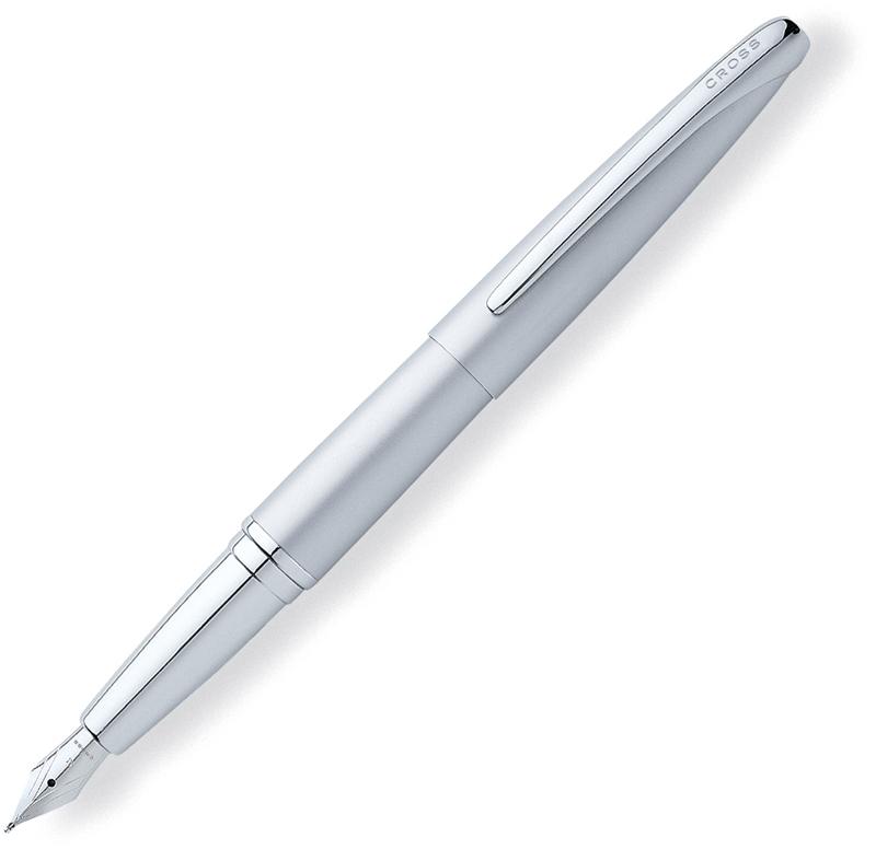 Cross ATX - Matte Chrome, перьевая ручка, F, BLATX<br>Когда ручку удобно держать в руке, она становится средством выражения Ваших мыслей. Возьмите Cross ATX и дайте волю своему воображению. Эргономичный и с балансированный дизайн с плавными контурами дарит непревзойденный комфорт письма.<br><br>Бренд Cross<br>Американская компания Cross основана в 1846 году ювелиром Алонзо Кроссом. С тех пор и по сей день компания держит курс на высочайшее качество продукции, тщательную проработку дизайна и постоянные инновации.<br>Основатель фирмы Cross внес огромный вклад в развитие пишущих приборов в целом. Например, на основе изобретенной им ручки-стилографа, созданы столь привычные нам шариковые ручки.<br>На сегодняшний день,A. T. Cross Companyпринадлежит более 20 патентов в сфере пишущих инструментов.<br>Основу ассортимента компании составляют функциональные пишущие инструменты премиум класса:<br>• перьевые ручкис запатентованной системой подачи чернил;<br>• ручки-роллерыс системой Selectip, позволяющей владельцу использовать различные виды стержней (шариковый, роллер или капиллярный);<br>• шариковые ручкис гидравлическим механизмом выдвижения стержня. При этом шариковую ручку Cross можно легко преобразовать в механический карандаш при помощи специального конвертера Switch-it, который также является запатентованным изобретением компании.<br>