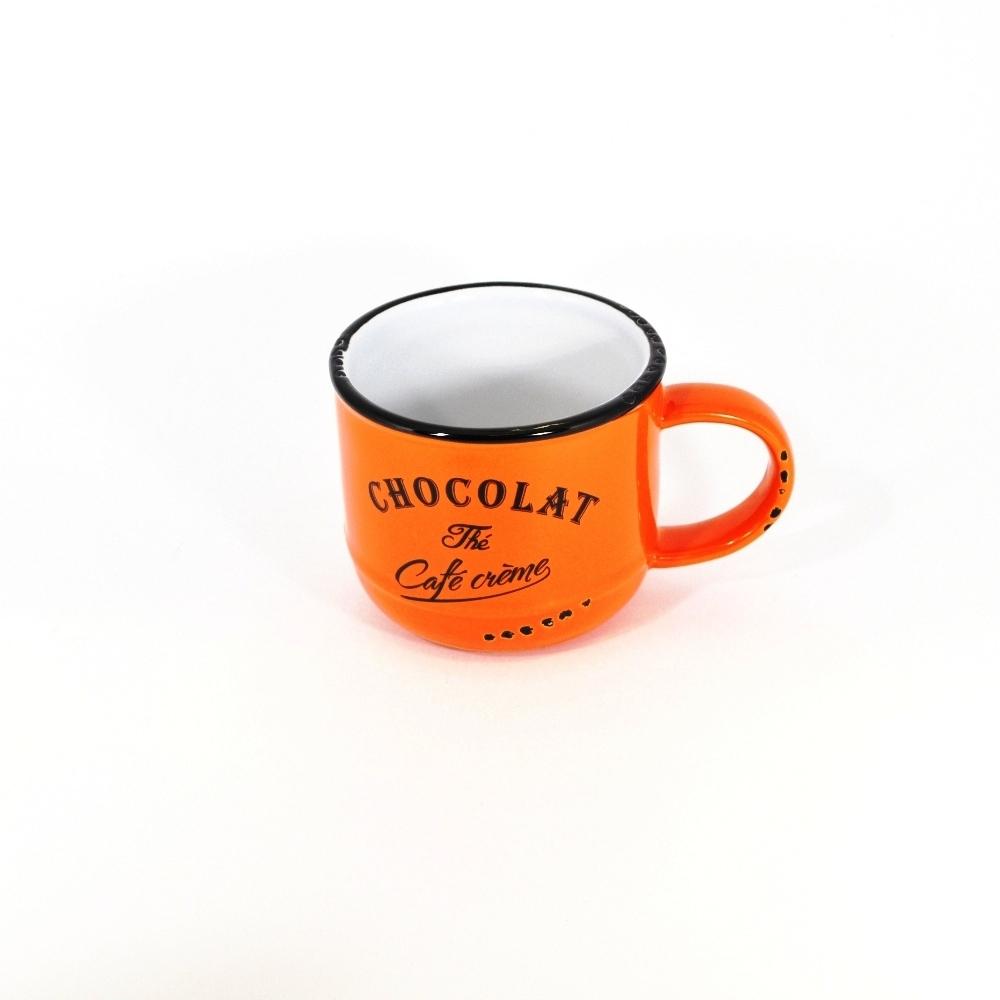 Кружечка Шоколад-чай-кофе оранжевая (Фарфор и керамика Antic Line)Фарфор и керамика Antic Line<br>Кружечка Шоколад-чай-кофе оранжевая<br>Керамика, стилизовано под эмалированный металл<br>Производитель: Antic Line, Франция<br>