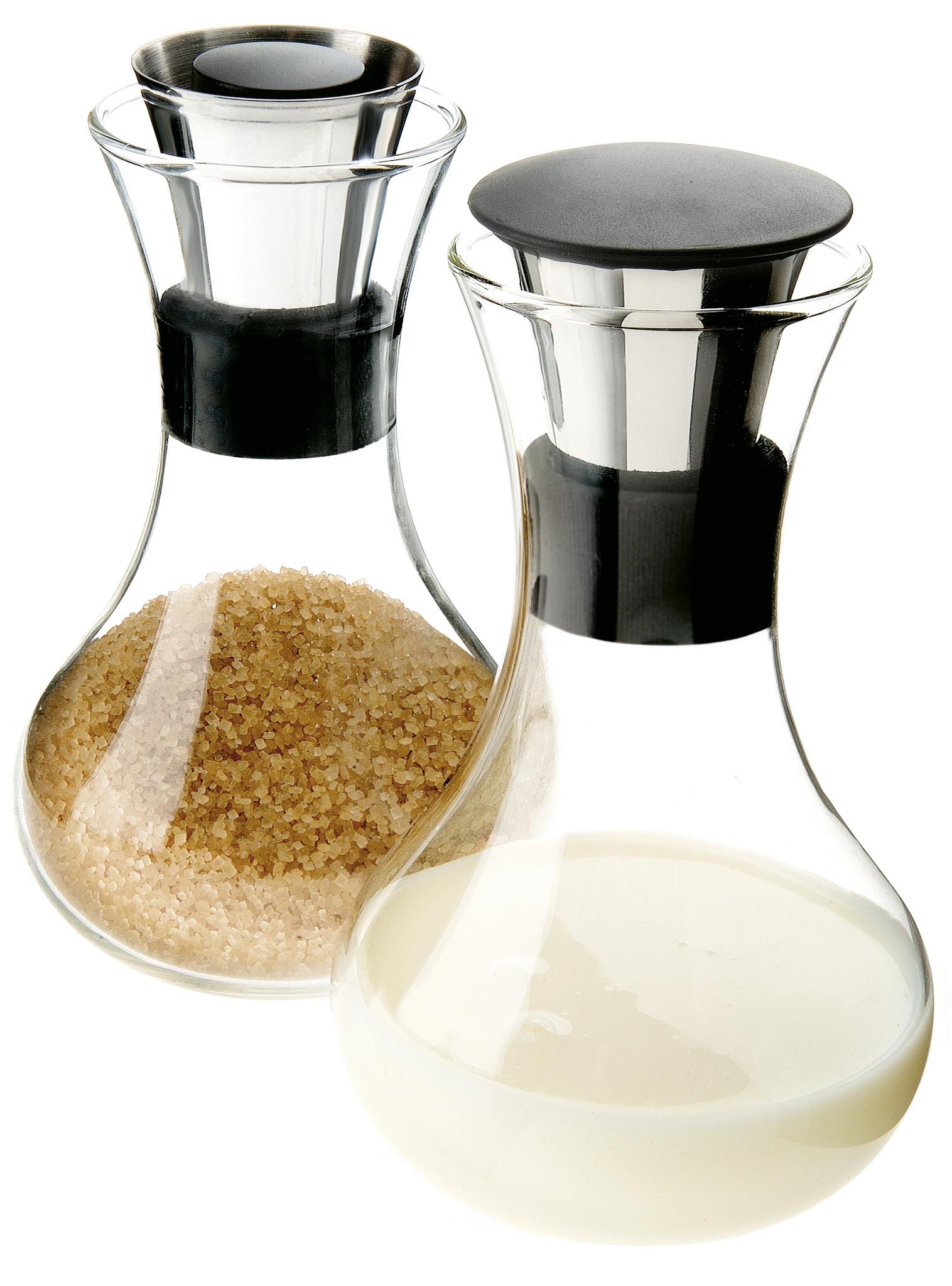 Набор сахарница и молочник 240 мл Eva Solo 567545Молочники<br>Сахарница снабжена дозатором, который каждый раз отмеряет ровно 1 чайную ложку. Молочник имеет горлышко запатентованной конструкции ни капли мимо и удобную силиконовую крышку для хранения молока. Набор можно мыть в посудомоечной машине.<br>