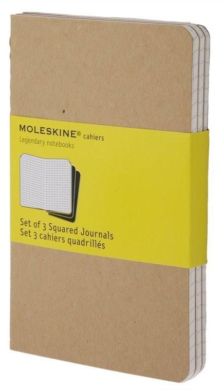 Набор 3 блокнота Moleskine Cahier Journal Large, цвет бежевый, в клеткуMOLESKINE<br><br>