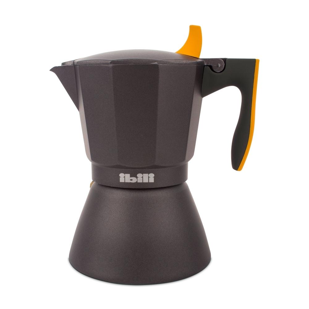 Кофеварка гейзерная на 6 чашек, алюминий, для индукционных плит, ручка оранжевая IBILI Sensive арт. 622206Посуда для приготовления IBILI (Испания)<br>крышка:естьматериал:алюминийпредметов в наборе (штук):1ручки:фиксированныестрана:Испаниятип варочной поверхности:все типы поверхностей<br>Официальный продавец IBILI<br>