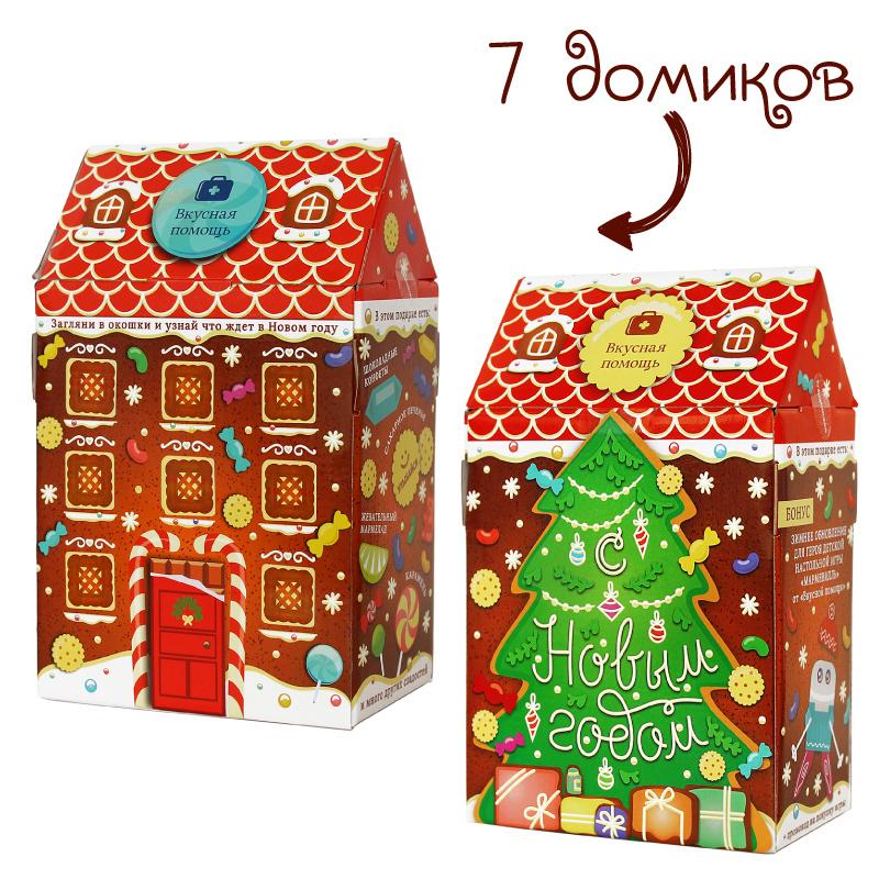 Новогодний домик «Детская радость» (коробка 7 наборов)Новогодние наборы<br>Что собой представляет наш подарок?<br>Каждый отдельный домик «Детская радость» содержит в себе особый набор, предназначенный специально для нетерпеливых и любознательных детей.<br>Там есть и необыкновенно вкусные шоколадные конфеты с ореховой посыпкой, яркие мармеладные мишки, сливочное печенье и рождественский леденец в виде трости, который так обожают дети и взрослые.<br>Но изюминка этого набора – наше дизайнерское печенье, произведенное специально к игре Мармевилль.<br>Не упустите выгодный шанс закупить подарки всем, кто вам дорог!<br>Блок - 7 шт.<br>
