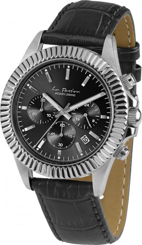 Jacques Lemans LP-111A - мужские наручные часы из коллекции La PassionJacques Lemans<br><br><br>Бренд: Jacques Lemans<br>Модель: Jacques Lemans LP-111A<br>Артикул: LP-111A<br>Вариант артикула: None<br>Коллекция: La Passion<br>Подколлекция: None<br>Страна: Австрия<br>Пол: мужские<br>Тип механизма: кварцевые<br>Механизм: None<br>Количество камней: None<br>Автоподзавод: None<br>Источник энергии: от батарейки<br>Срок службы элемента питания: None<br>Дисплей: стрелки<br>Цифры: отсутствуют<br>Водозащита: WR 10<br>Противоударные: None<br>Материал корпуса: нерж. сталь<br>Материал браслета: кожа<br>Материал безеля: None<br>Стекло: Crystex<br>Антибликовое покрытие: None<br>Цвет корпуса: None<br>Цвет браслета: None<br>Цвет циферблата: None<br>Цвет безеля: None<br>Размеры: 42 мм<br>Диаметр: None<br>Диаметр корпуса: None<br>Толщина: None<br>Ширина ремешка: None<br>Вес: None<br>Спорт-функции: секундомер<br>Подсветка: стрелок<br>Вставка: None<br>Отображение даты: число<br>Хронограф: есть<br>Таймер: None<br>Термометр: None<br>Хронометр: None<br>GPS: None<br>Радиосинхронизация: None<br>Барометр: None<br>Скелетон: None<br>Дополнительная информация: None<br>Дополнительные функции: None