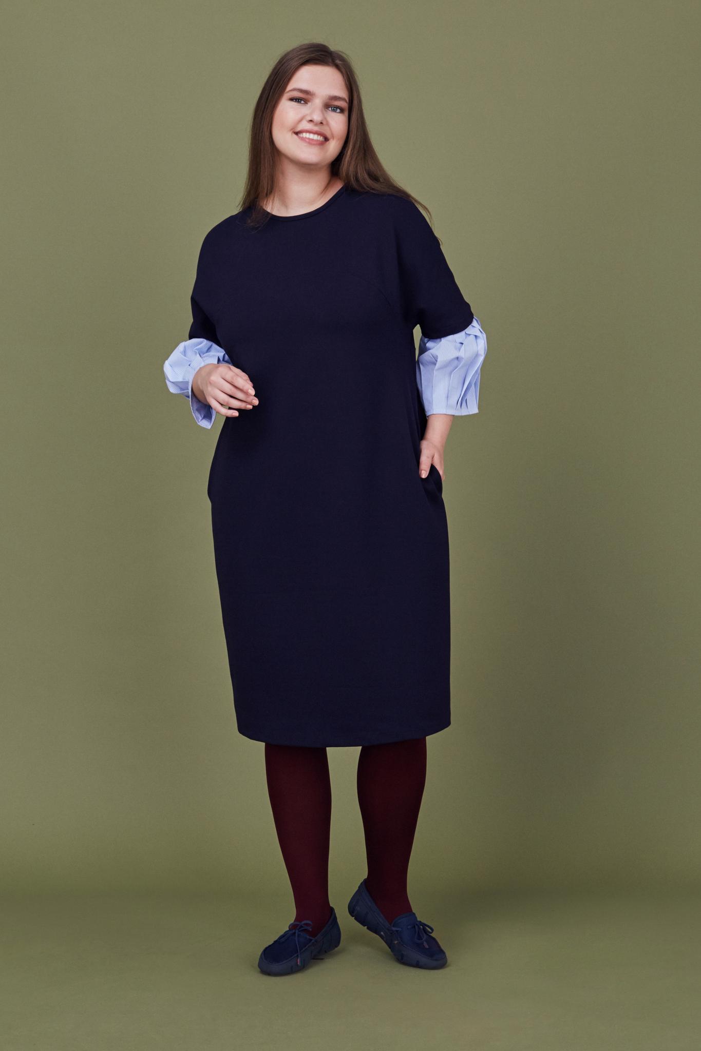 Платье LE-07 D03 31Сейчас покупают<br>Платье А-силуэта из плотного мягкого джерси, чуть ниже колена с рукавами из контрасного плотного хлопка, заллженного в складку. Карманы в боковых швах, длина рукава 5/6. Идеально для офиса и вылазок в свет. Прекрасно сочетается с любой обувью и аксессуарами .Рост модели на фото 178 см, размер 54 (российский).<br>