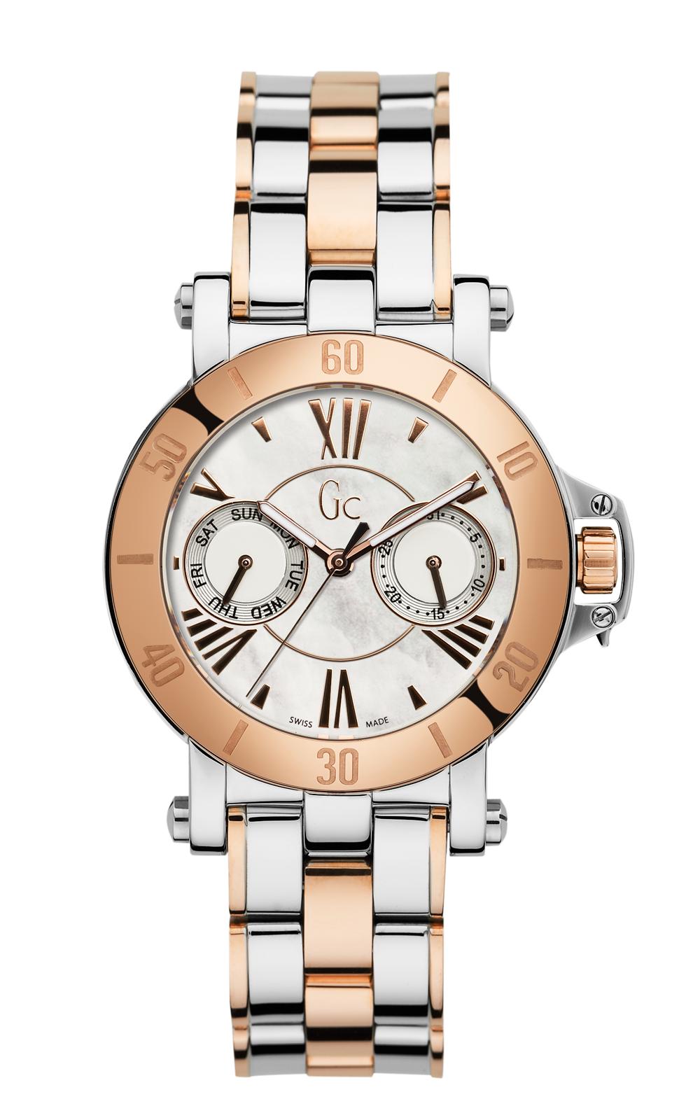 Gc X74002L1S - женские наручные часы из коллекции Sport ChicGc<br><br><br>Бренд: Gc<br>Модель: Gc X74002L1S<br>Артикул: X74002L1S<br>Вариант артикула: None<br>Коллекция: Sport Chic<br>Подколлекция: None<br>Страна: Швейцария<br>Пол: женские<br>Тип механизма: кварцевые<br>Механизм: None<br>Количество камней: None<br>Автоподзавод: None<br>Источник энергии: от батарейки<br>Срок службы элемента питания: None<br>Дисплей: стрелки<br>Цифры: римские<br>Водозащита: WR 100<br>Противоударные: None<br>Материал корпуса: нерж. сталь, PVD покрытие: позолота (частичное)<br>Материал браслета: нерж. сталь, PVD покрытие (частичное): позолота<br>Материал безеля: None<br>Стекло: сапфировое<br>Антибликовое покрытие: None<br>Цвет корпуса: None<br>Цвет браслета: None<br>Цвет циферблата: None<br>Цвет безеля: None<br>Размеры: 34 мм<br>Диаметр: None<br>Диаметр корпуса: None<br>Толщина: None<br>Ширина ремешка: None<br>Вес: None<br>Спорт-функции: None<br>Подсветка: стрелок<br>Вставка: None<br>Отображение даты: число, день недели<br>Хронограф: None<br>Таймер: None<br>Термометр: None<br>Хронометр: None<br>GPS: None<br>Радиосинхронизация: None<br>Барометр: None<br>Скелетон: None<br>Дополнительная информация: None<br>Дополнительные функции: None