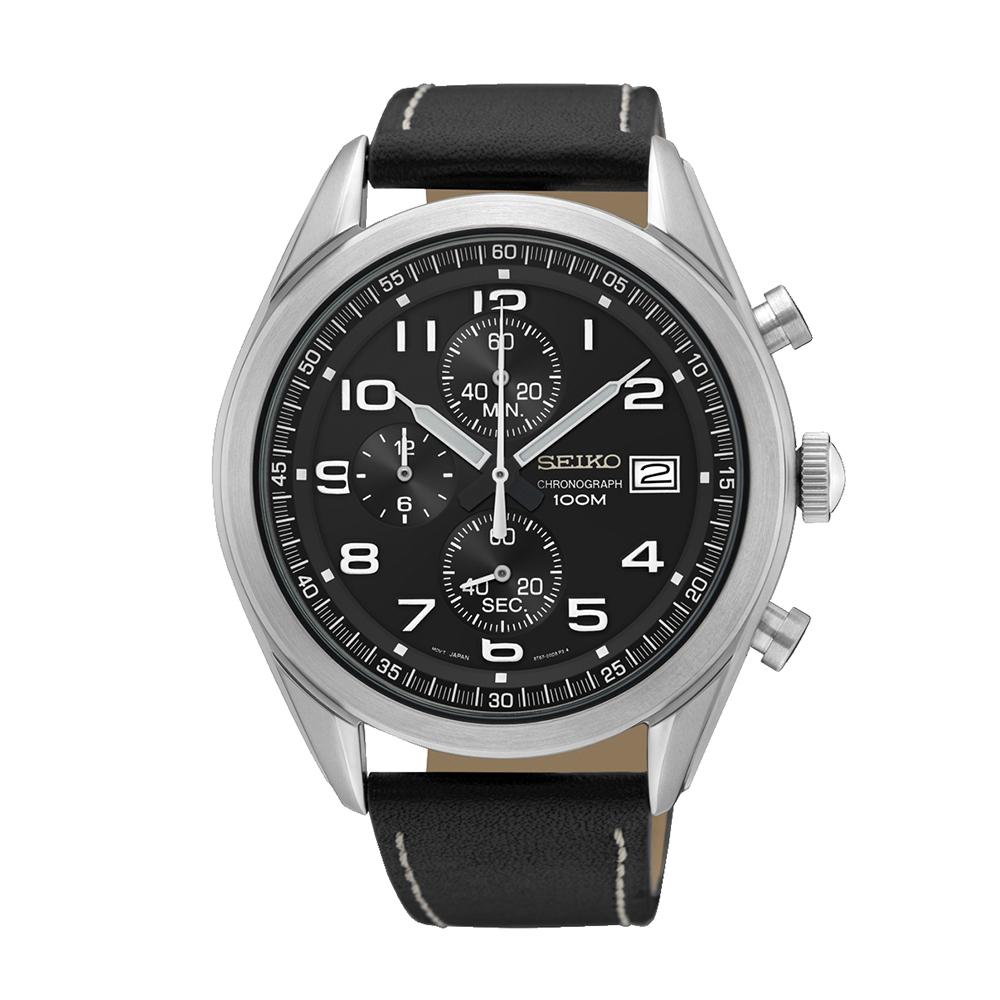 Наручные часы SeikoSeiko Conceptual Series Sports<br>Seiko Chronograph SSB271P1 - мужские кварцевые часы. Корпус этих часов крупного размера (45 мм.) и выполнен из нержавеющей стали. Модель Chronograph SSB271P1 имеет стекло хардлекс, кожаный ремешок чёрного цвета, чёрный циферблат. Водоустойчивость: 100 метров. Дополнительные функции и особенности: дата, хронограф.<br>