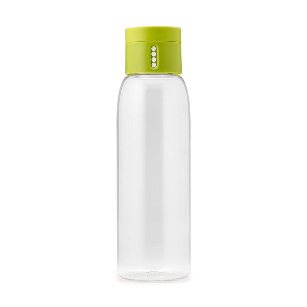 Бутылка для воды Joseph Joseph Dot 600 мл зеленая 81049Бутылочки<br>Бутылка для воды Joseph Joseph Dot 600 мл зеленая 81049<br><br>Уникальная бутылка, которая поможет вам контролировать ежедневное потребление воды. Инновационная крышка со счетчиком запомнит каждое наполнение бутылки в течение дня. Просто закрутите крышку до появления точки, а для питья используйте верхнюю крышку. Новая точка появится каждый раз, когда бутылка заново заполнена и крышка закручена. <br>Из гладкого литого носика бутылки удобно пить, а широкое горлышко идеально для насыпания льда и мытья. Герметичная крышка надежно защитит содержимое от вытекания. Бутылка изготовлена из экологичного и удапрочного материала Tritan.<br><br><br>Официальный продавец<br>