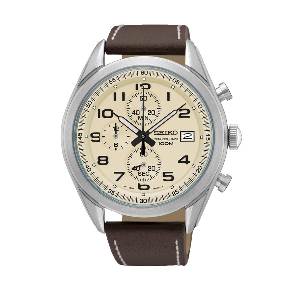 Наручные часы SeikoSeiko Conceptual Series Sports<br>Seiko Chronograph SSB273P1 - мужские кварцевые часы. Корпус этих часов крупного размера (45 мм.) и выполнен из нержавеющей стали. Модель Chronograph SSB273P1 имеет стекло хардлекс, кожаный ремешок коричневого цвета, бежевый циферблат. Водоустойчивость: 100 метров. Дополнительные функции и особенности: дата, хронограф.<br>