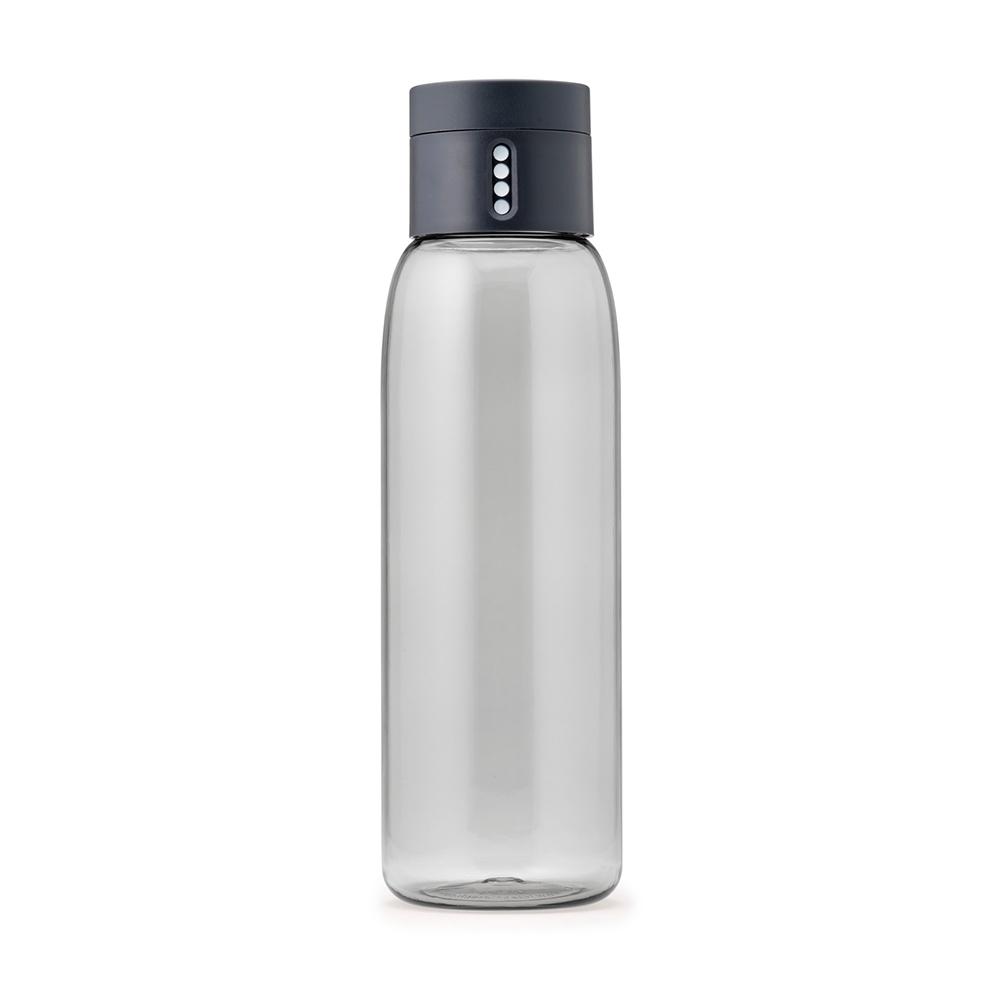 Бутылка для воды Joseph Joseph Dot 600 мл серая 81053Бутылочки<br>Бутылка для воды Joseph Joseph Dot 600 мл розовая 81051<br><br>Уникальная бутылка, которая поможет вам контролировать ежедневное потребление воды. Инновационная крышка со счетчиком запомнит каждое наполнение бутылки в течение дня. Просто закрутите крышку до появления точки, а для питья используйте верхнюю крышку. Новая точка появится каждый раз, когда бутылка заново заполнена и крышка закручена. <br>Из гладкого литого носика бутылки удобно пить, а широкое горлышко идеально для насыпания льда и мытья. Герметичная крышка надежно защитит содержимое от вытекания. Бутылка изготовлена из экологичного и удапрочного материала Tritan.<br><br><br>Официальный продавец<br>