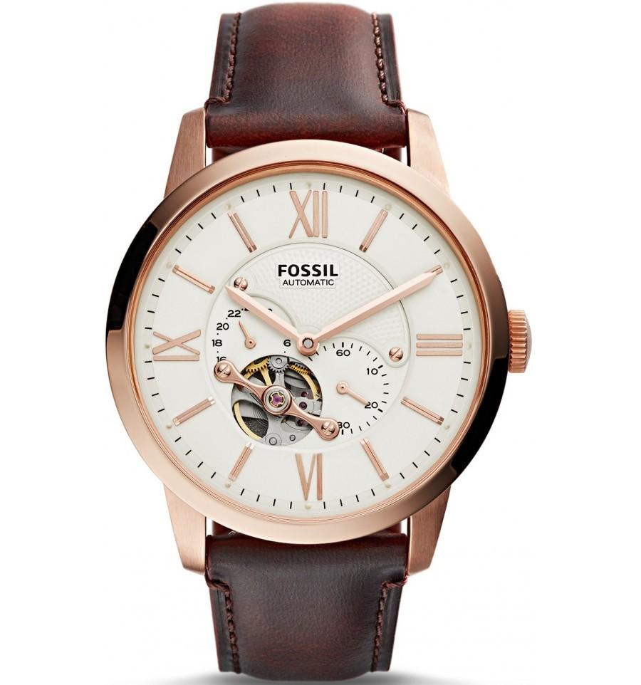 Fossil ME3105 - мужские наручные часы из коллекции TownsmanFossil<br>Оригинальные мужские механические наручные часыFossil ME3105 из коллекцииTownsman.<br><br>Бренд: Fossil<br>Модель: Fossil ME3105<br>Артикул: ME3105<br>Вариант артикула: None<br>Коллекция: Townsman<br>Подколлекция: None<br>Страна: США<br>Пол: мужские<br>Тип механизма: механические<br>Механизм: None<br>Количество камней: None<br>Автоподзавод: есть<br>Источник энергии: пружинный механизм<br>Срок службы элемента питания: None<br>Дисплей: стрелки<br>Цифры: римские<br>Водозащита: WR 50<br>Противоударные: None<br>Материал корпуса: нерж. сталь, PVD покрытие: позолота (полное)<br>Материал браслета: кожа (не указан)<br>Материал безеля: None<br>Стекло: минеральное<br>Антибликовое покрытие: None<br>Цвет корпуса: None<br>Цвет браслета: None<br>Цвет циферблата: None<br>Цвет безеля: None<br>Размеры: 44x12 мм<br>Диаметр: None<br>Диаметр корпуса: None<br>Толщина: None<br>Ширина ремешка: None<br>Вес: None<br>Спорт-функции: None<br>Подсветка: None<br>Вставка: None<br>Отображение даты: None<br>Хронограф: None<br>Таймер: None<br>Термометр: None<br>Хронометр: None<br>GPS: None<br>Радиосинхронизация: None<br>Барометр: None<br>Скелетон: None<br>Дополнительная информация: None<br>Дополнительные функции: None